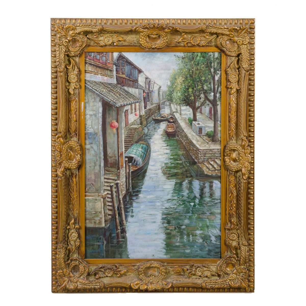 Oil Painting of a Canal Scene