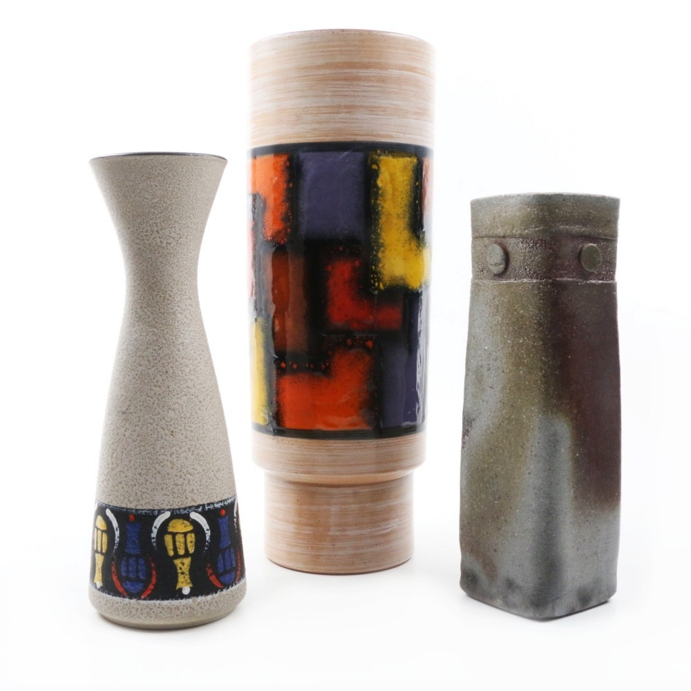 Mid-Century Modern Art Pottery Vases including Aldo Londi Bitossi