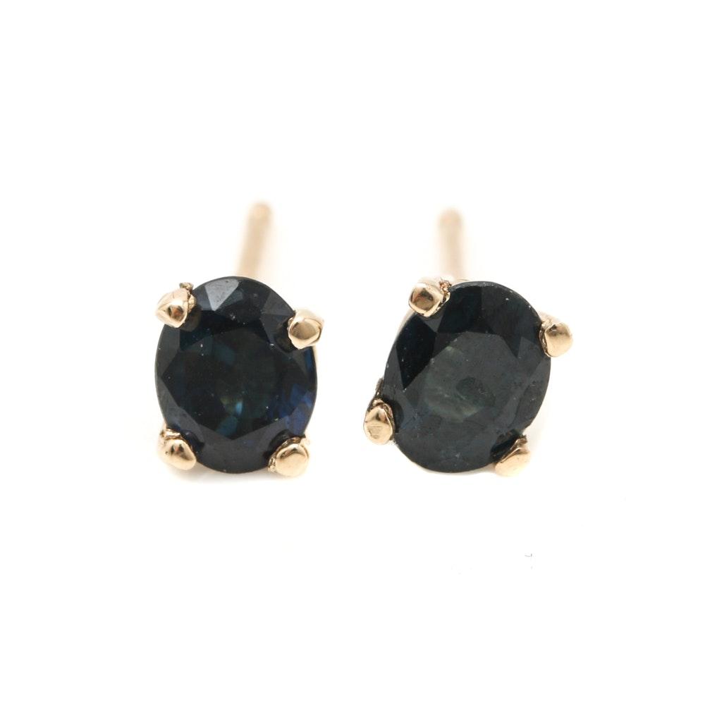 14K Yellow Gold Blue Sapphire Stud Earrings