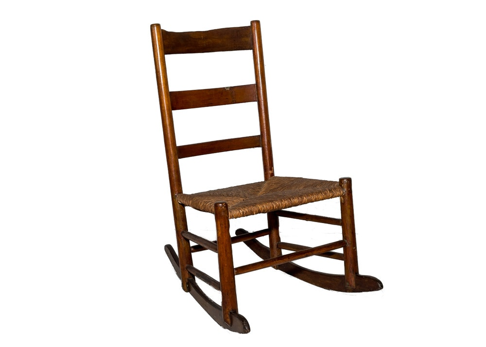 Vintage Rush Seat Rocking Chair