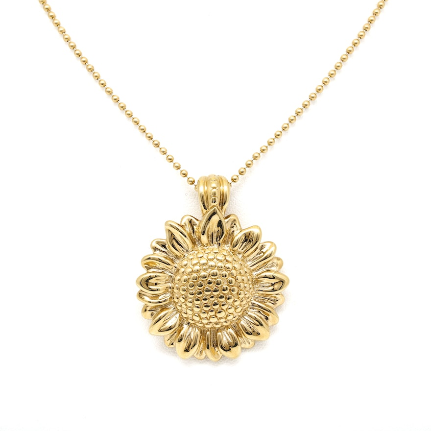 14k yellow gold sunflower pendant necklace ebth 14k yellow gold sunflower pendant necklace aloadofball Gallery