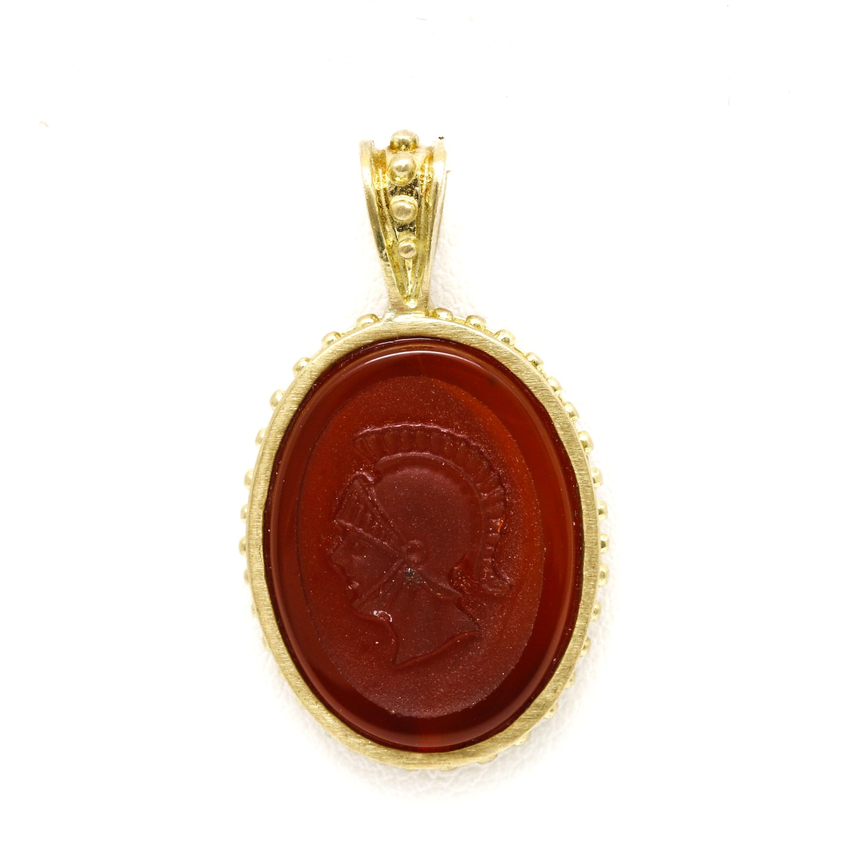 18K Yellow Gold Intaglio Carnelian Pendant