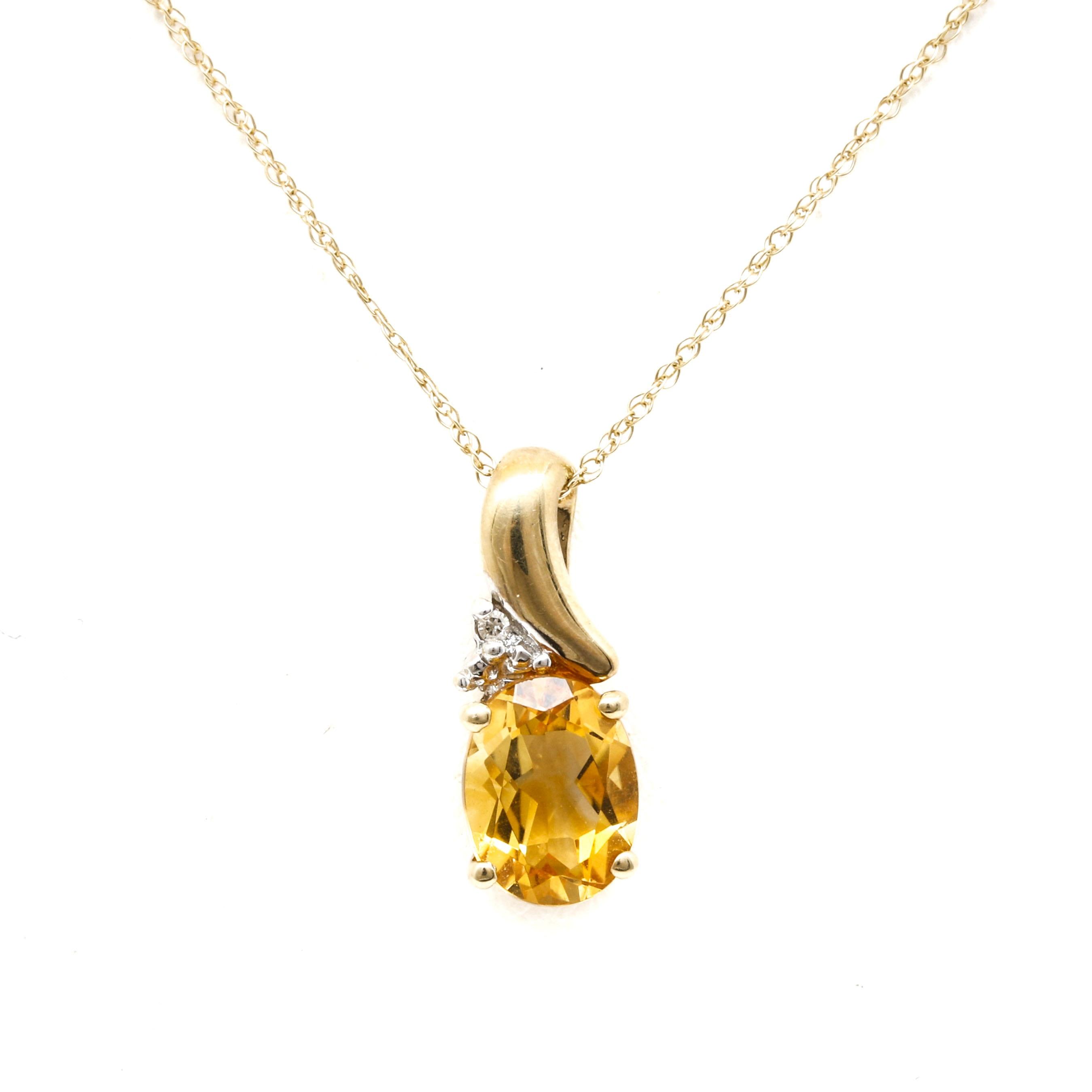 14K Yellow Gold Diamond and Citrine Pendant Necklace