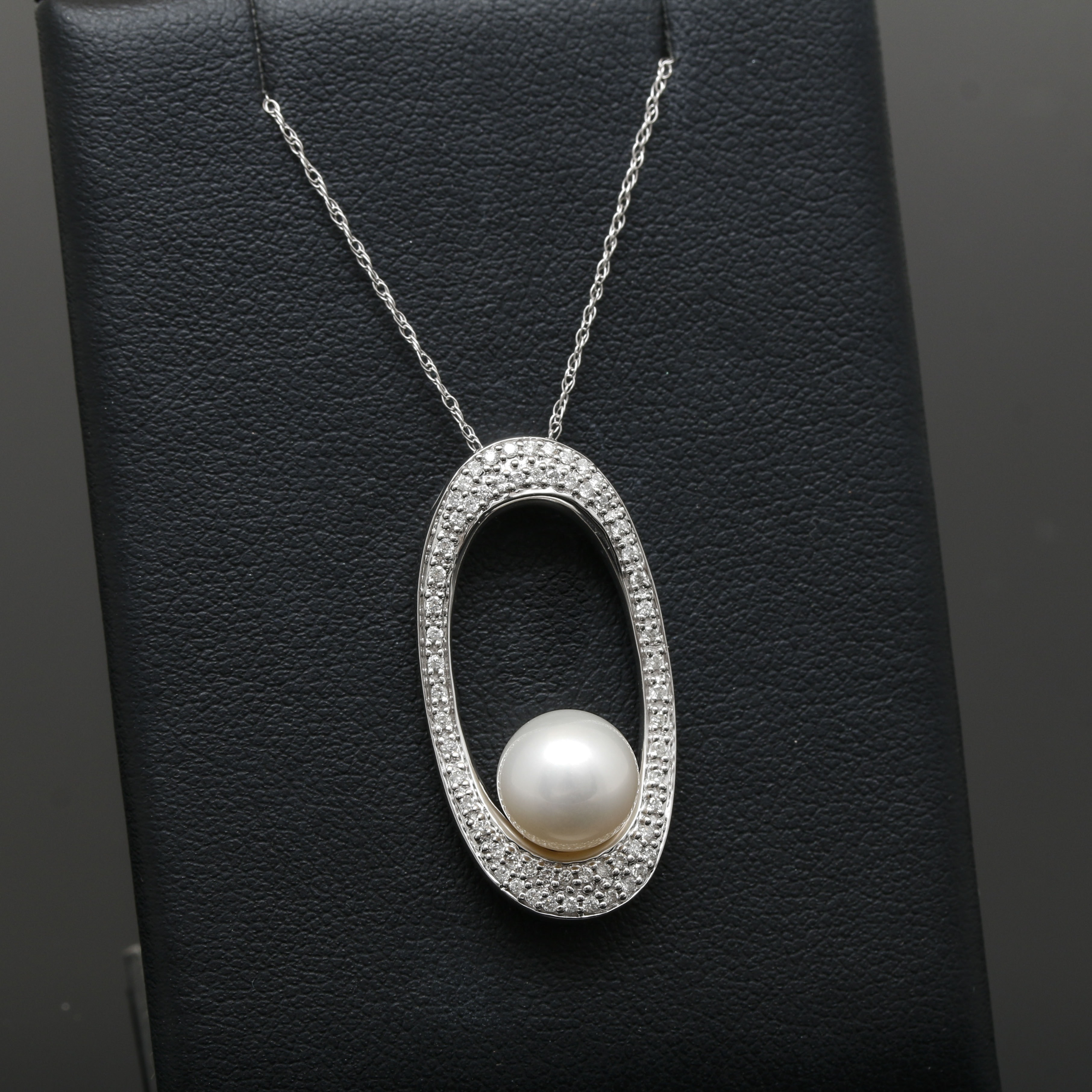 14K White Gold Cultured Pearl and Diamond Pendant Necklace
