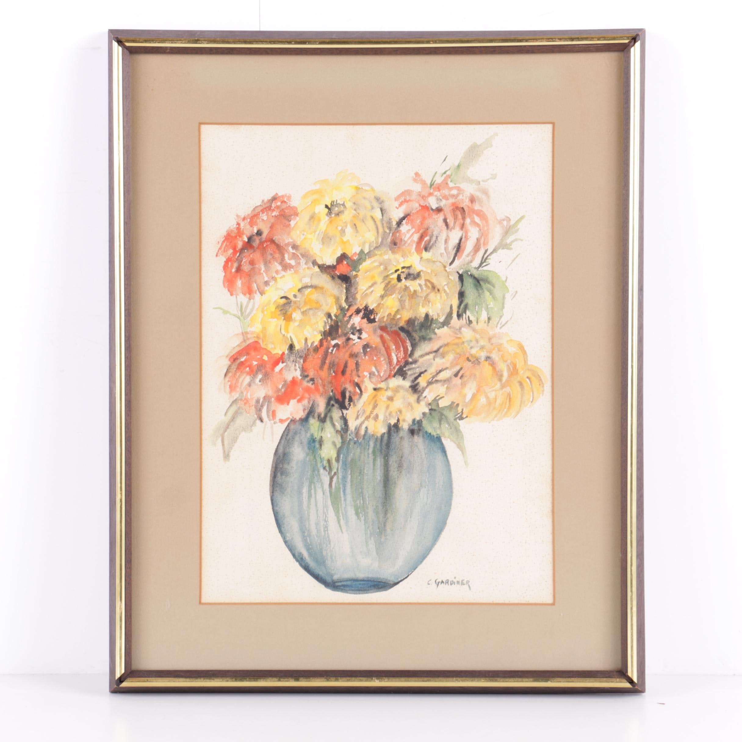 C. Gardiner Watercolor Painting on Paper of a Floral Bouquet