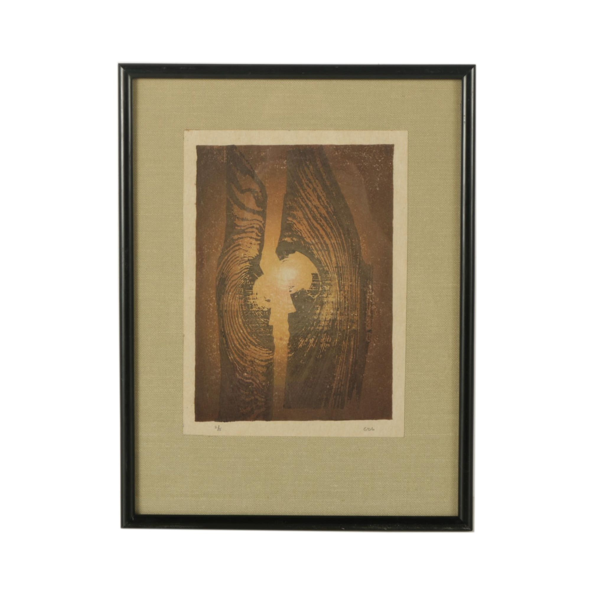 G.D.G. Limited Edition Abstract Woodblock Print