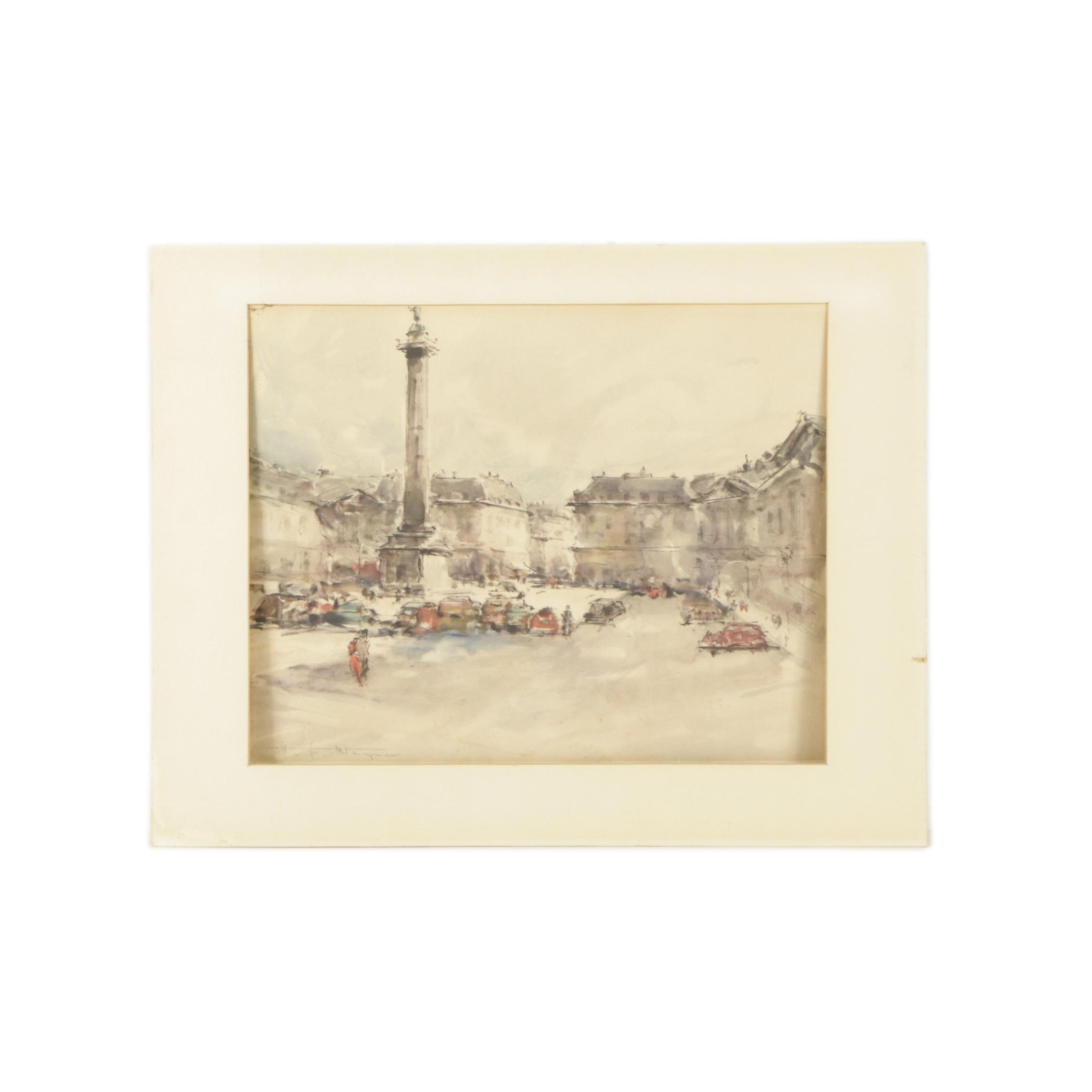 Offset Lithograph on Paper of Place Vendôme