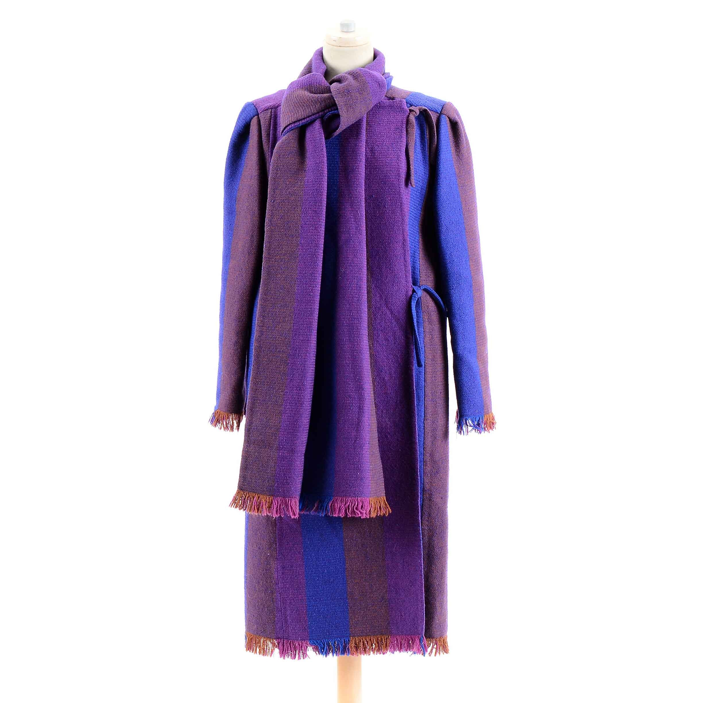 Women's Vintage Wool Color Block Coat