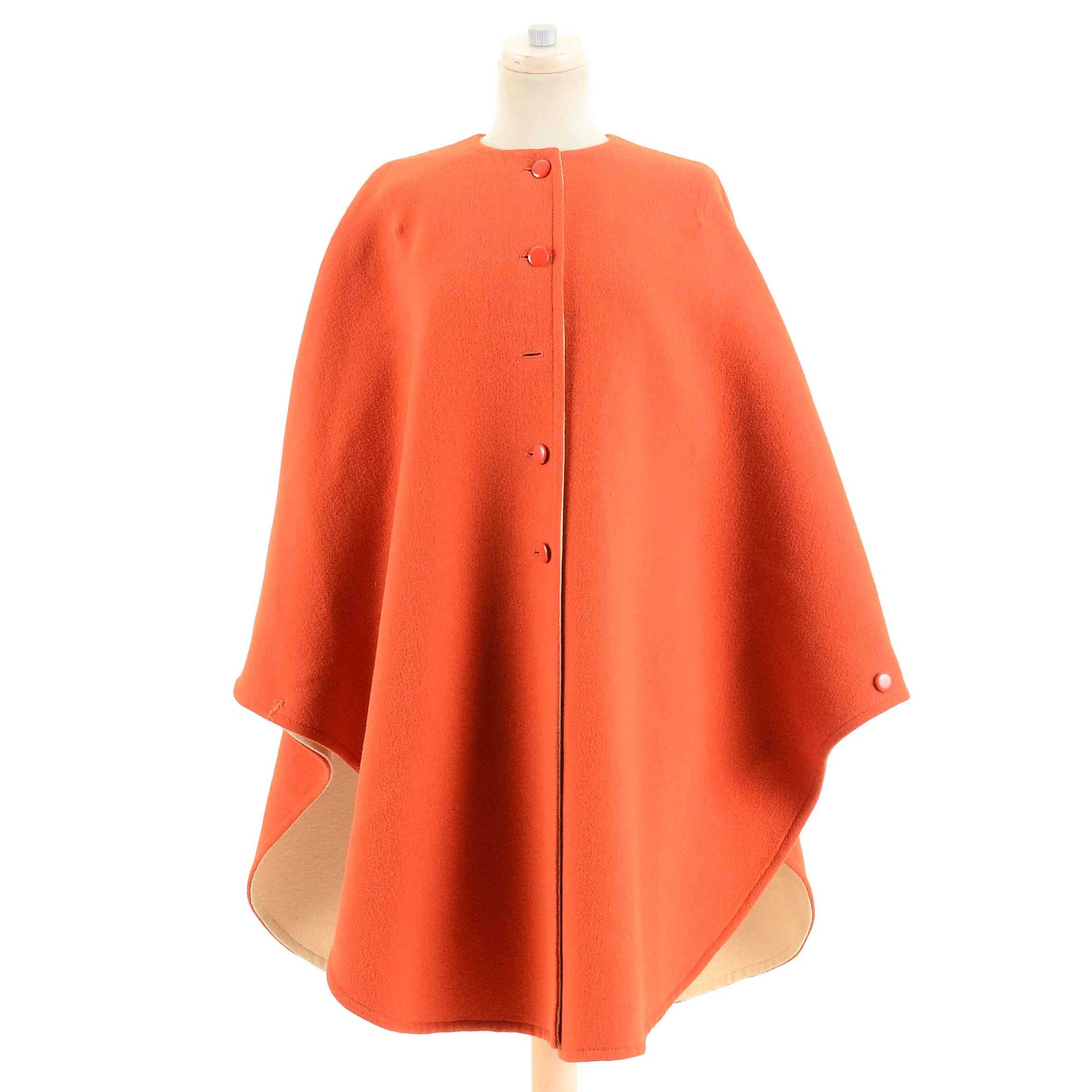 Vintage Guy Laroche of Paris Orange Wool Poncho