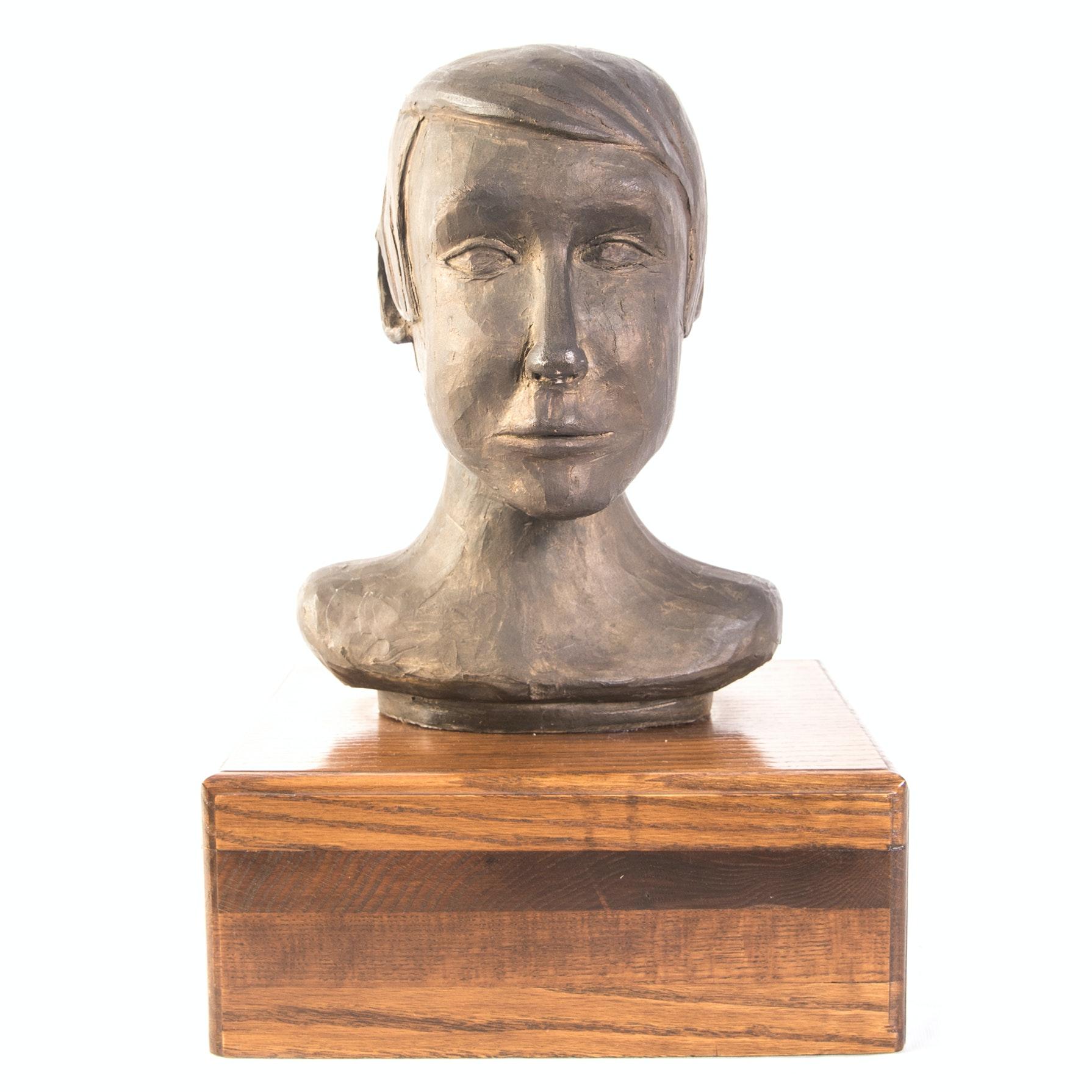 R. Cook Plaster Bust on Base
