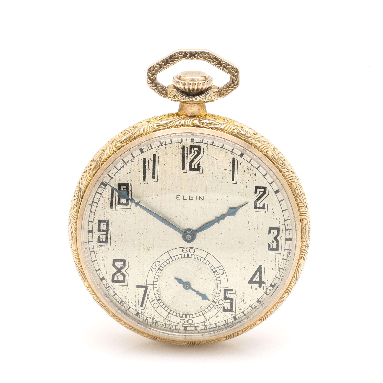 Vintage Elgin Gold Filled Open Face Pocket Watch