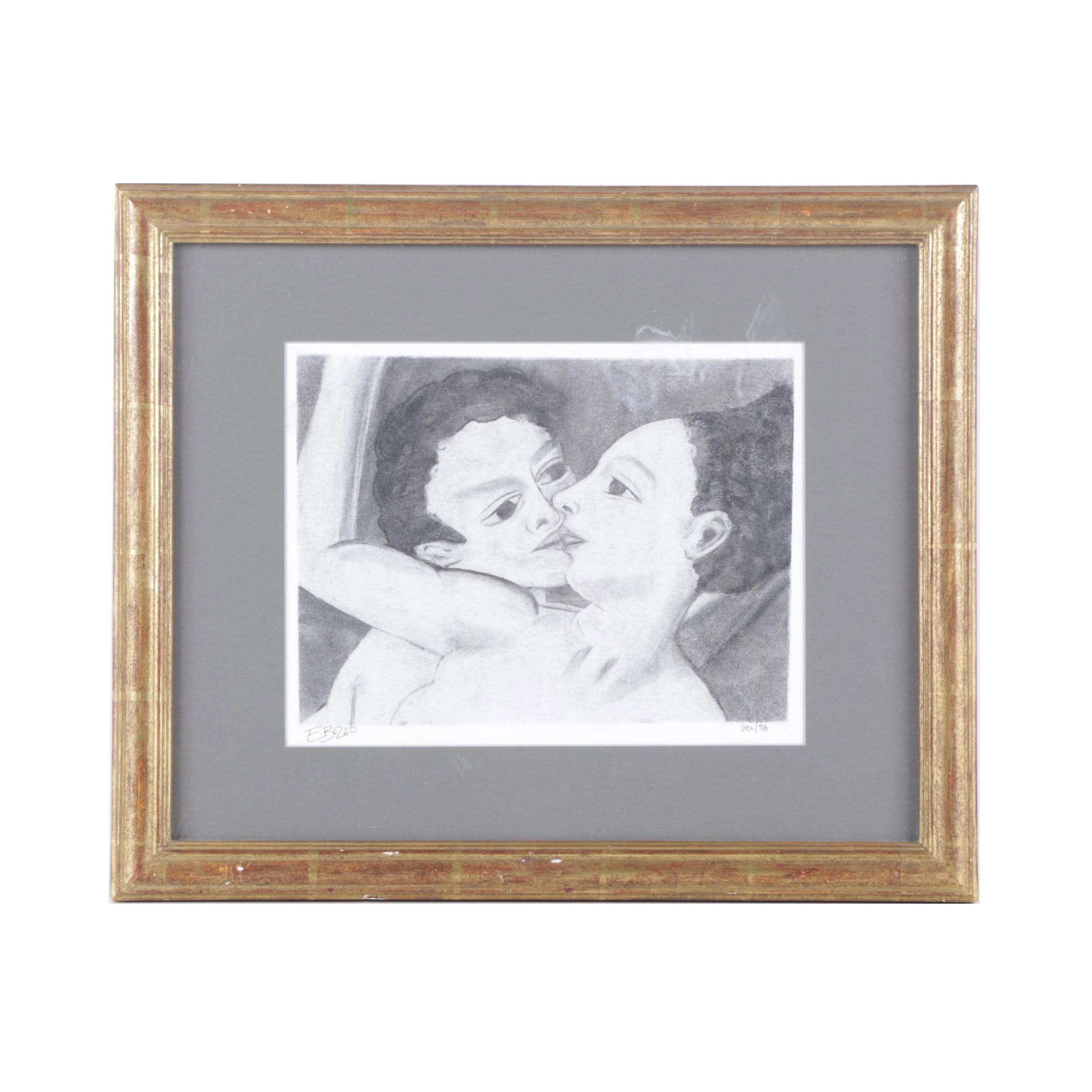 E. Buzzo Lithograph on Paper of Embracing Couple