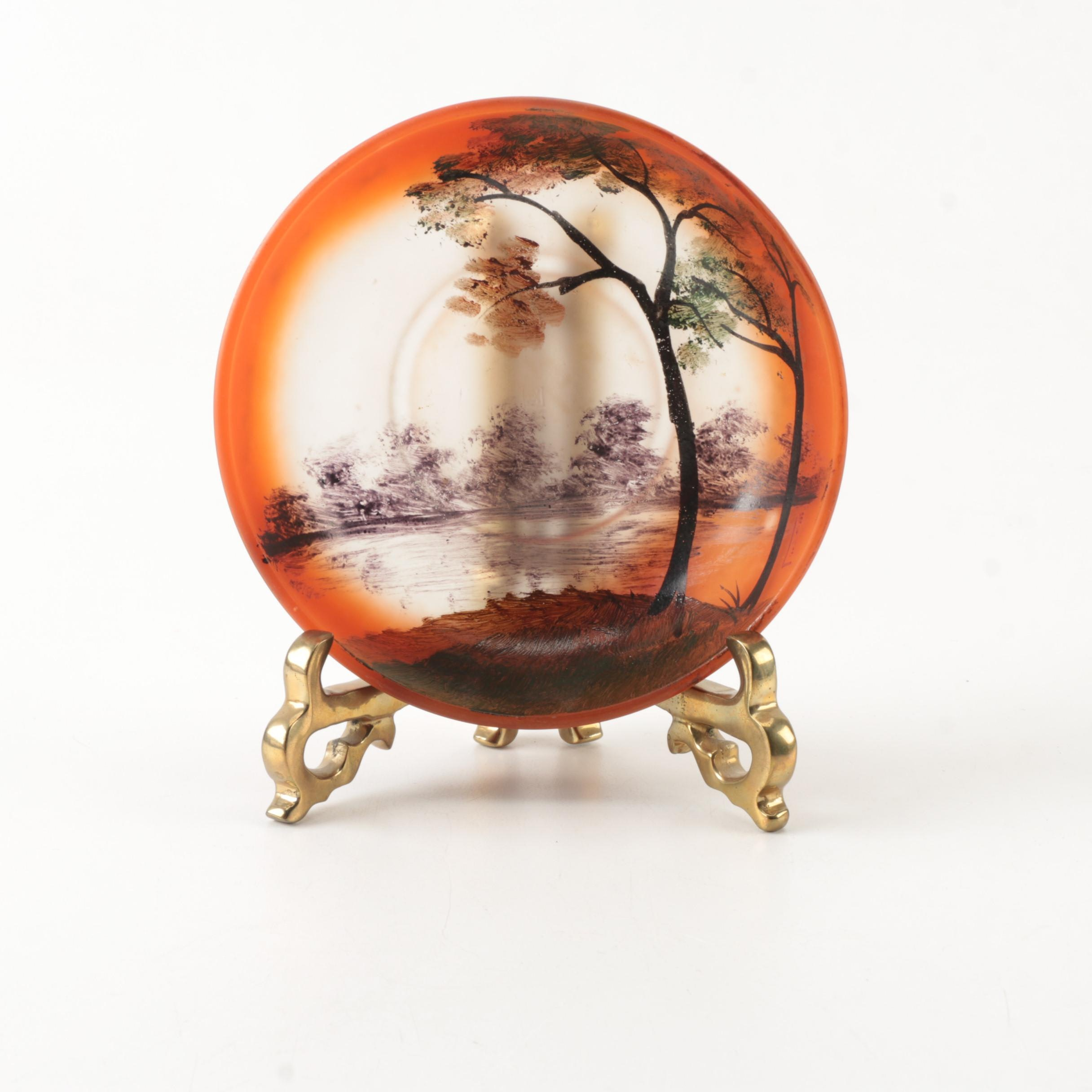 Hand-Painted Satin Glass Bowl with Stand