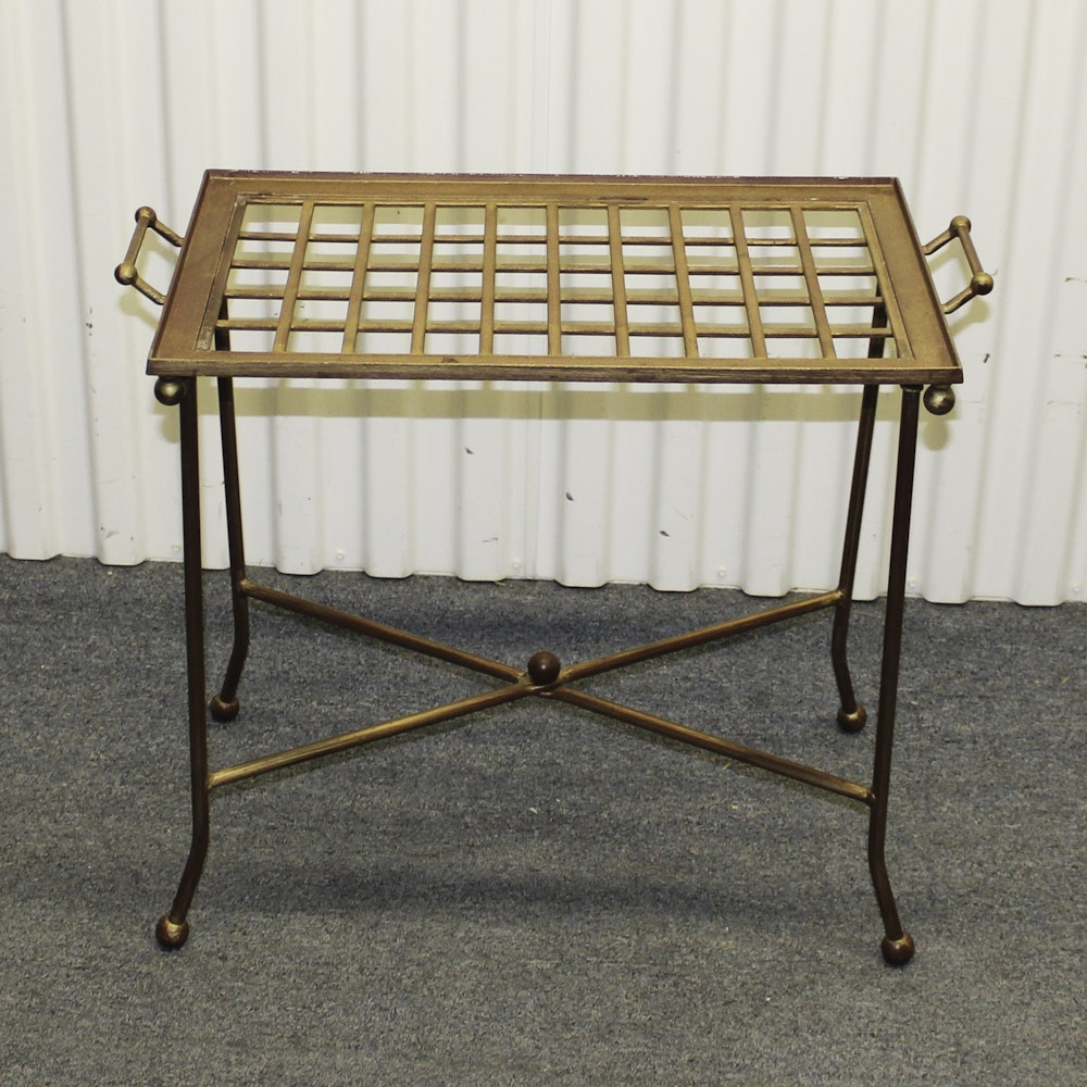 Mid-Century Metal Serving Tray with Stand