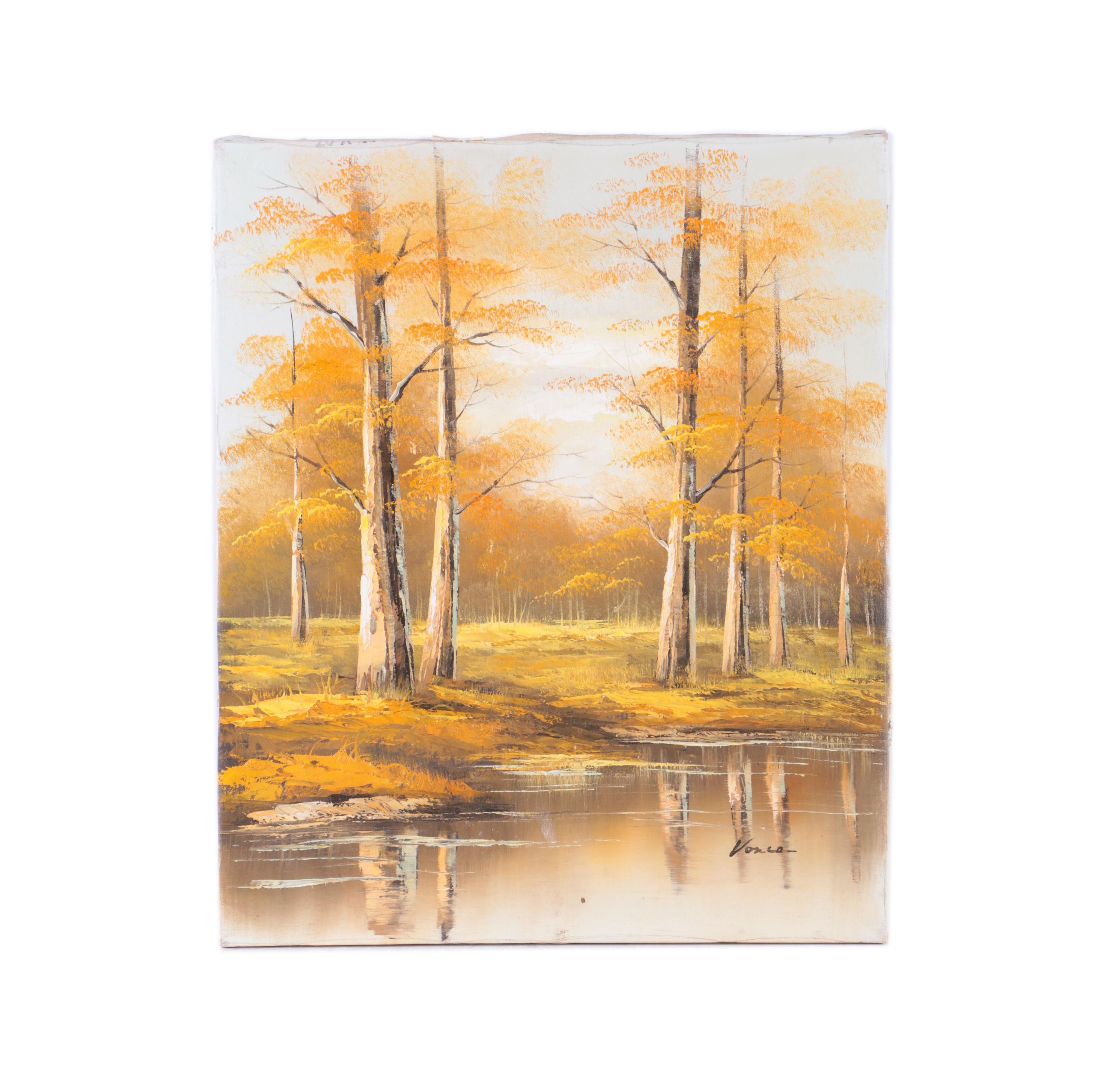 Signed Oil Painting on Canvas of Fall Landscape