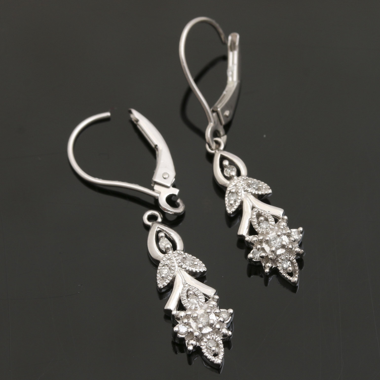 Alwand Vahan 14K White Gold Diamond Foliate Dangle Earrings