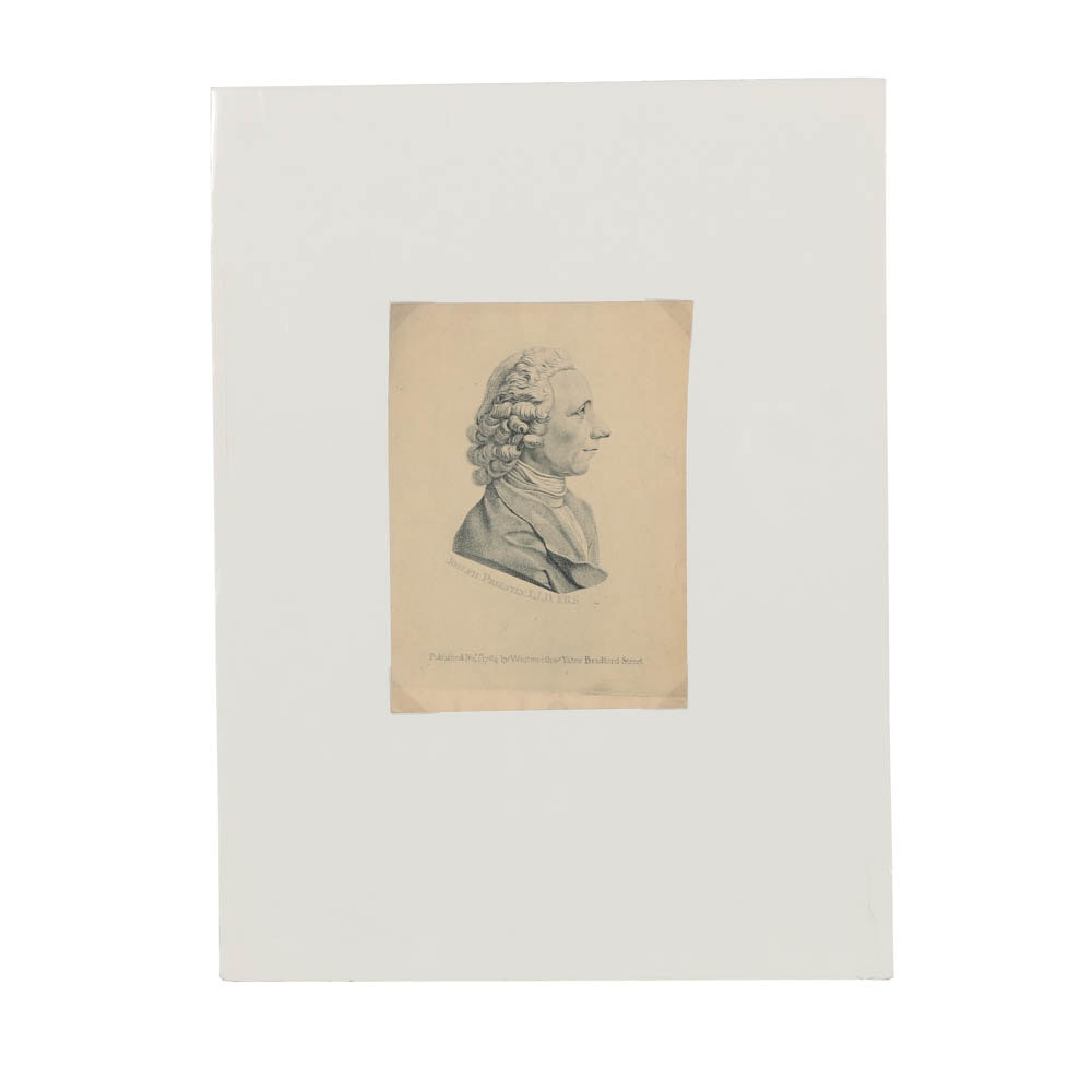 "Whitworth & Yates Stipple Engraving on Paper ""Joseph Priestly L.L.D. F.R.S."""