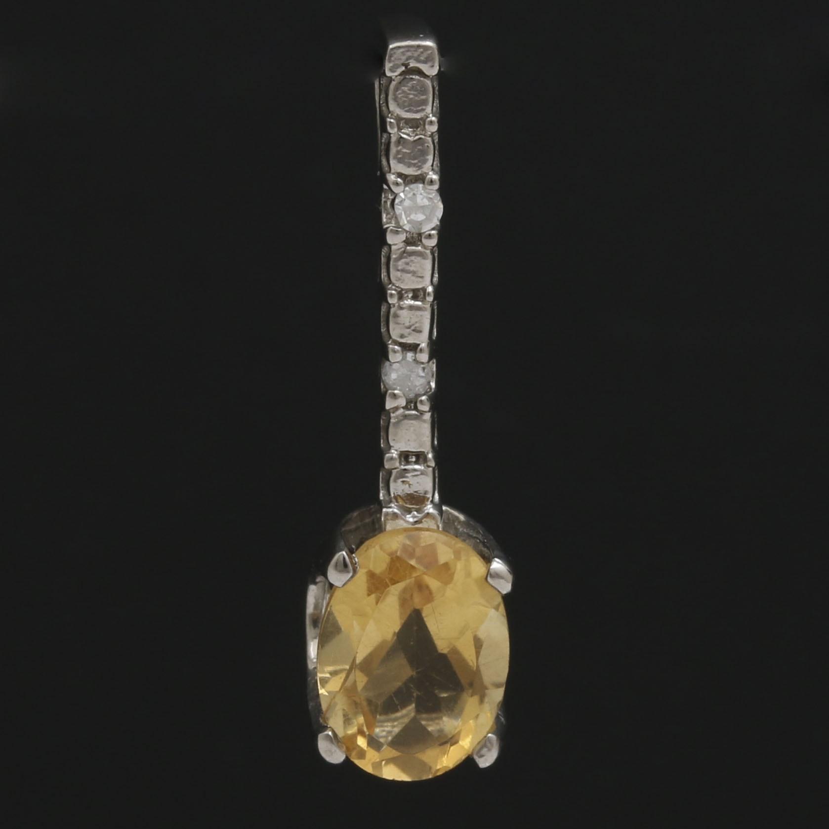 10K White Gold Citrine and Diamond Pendant