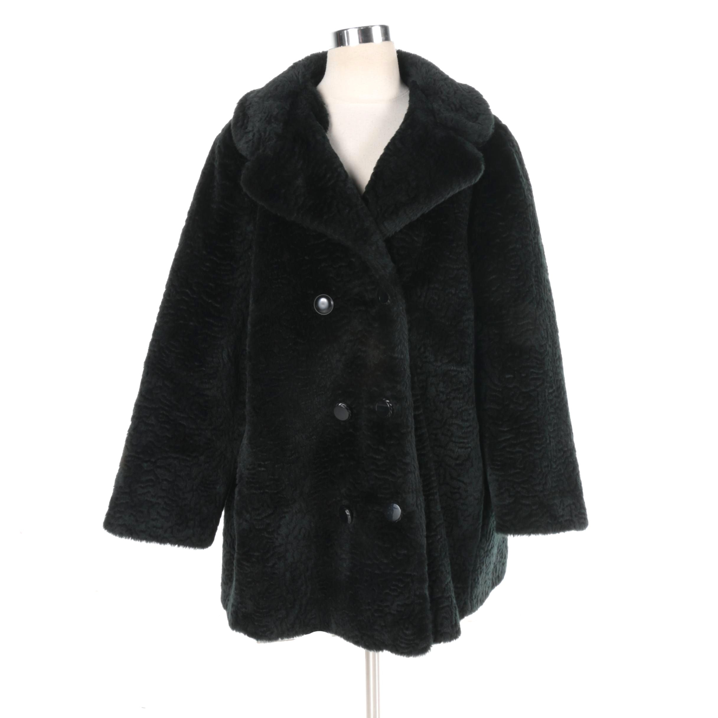 Women's Komitor Double-Breasted Black Faux Fur Coat