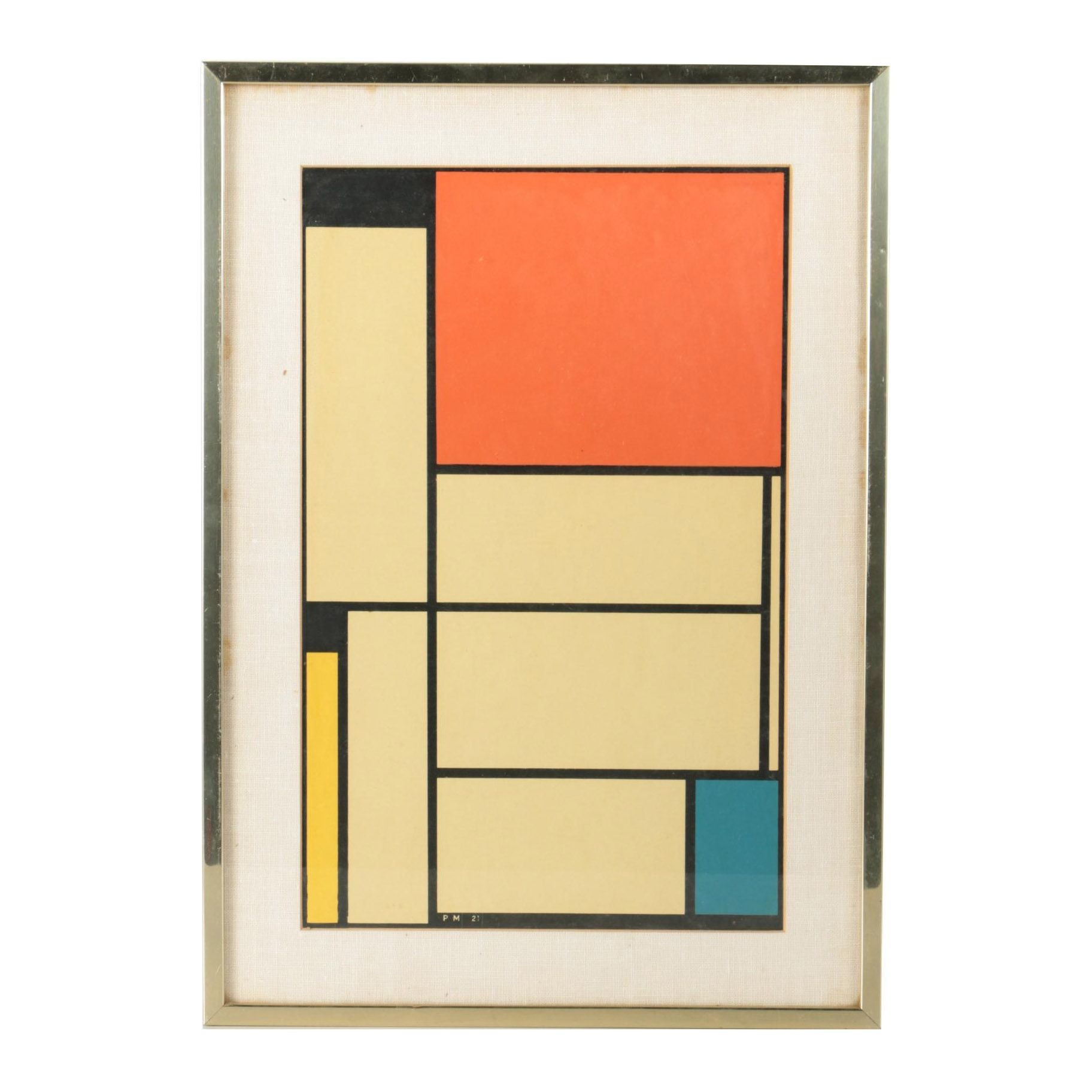 "Color Serigraph After Piet Mondrian ""Painting #1"""