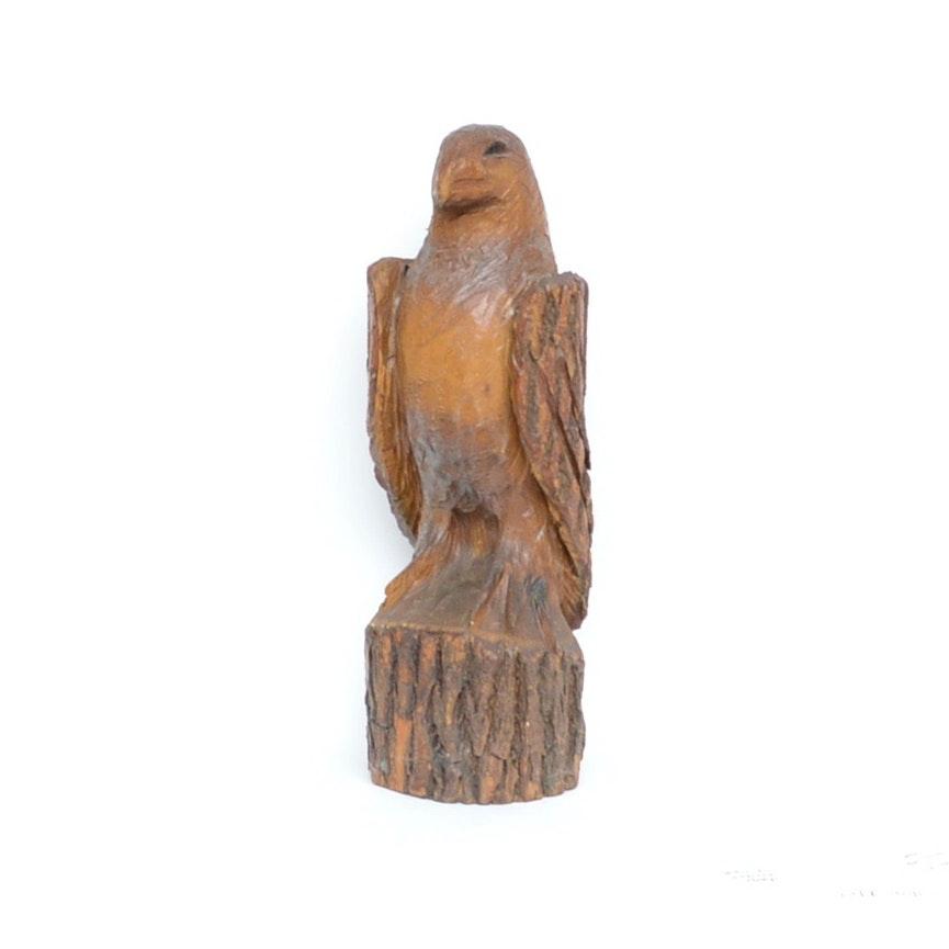 Hand-Carved Wooden Folk Art Eagle Sculpture