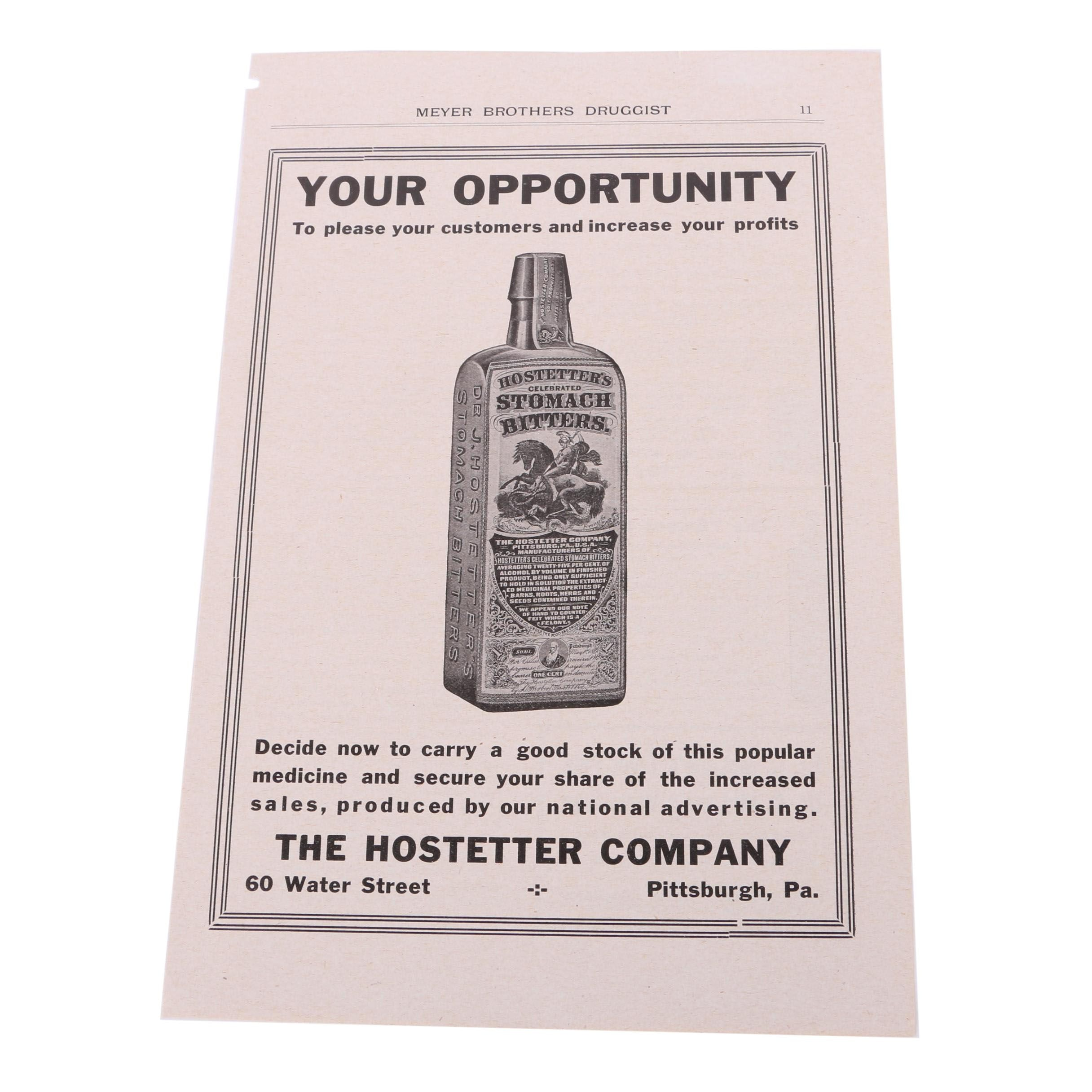 Vintage Halftone Print Advertisement For Hostetter Bitters
