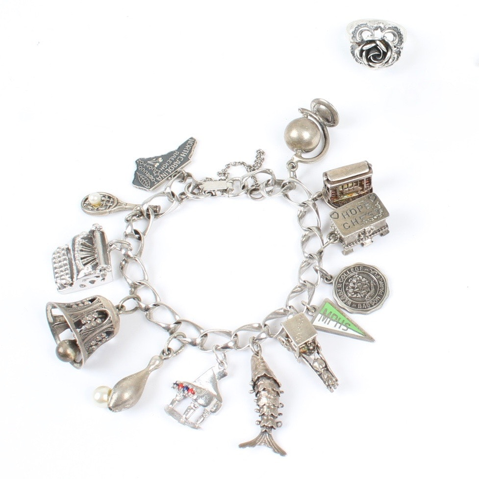 Sterling Silver Charm Bracelet and Flower Ring