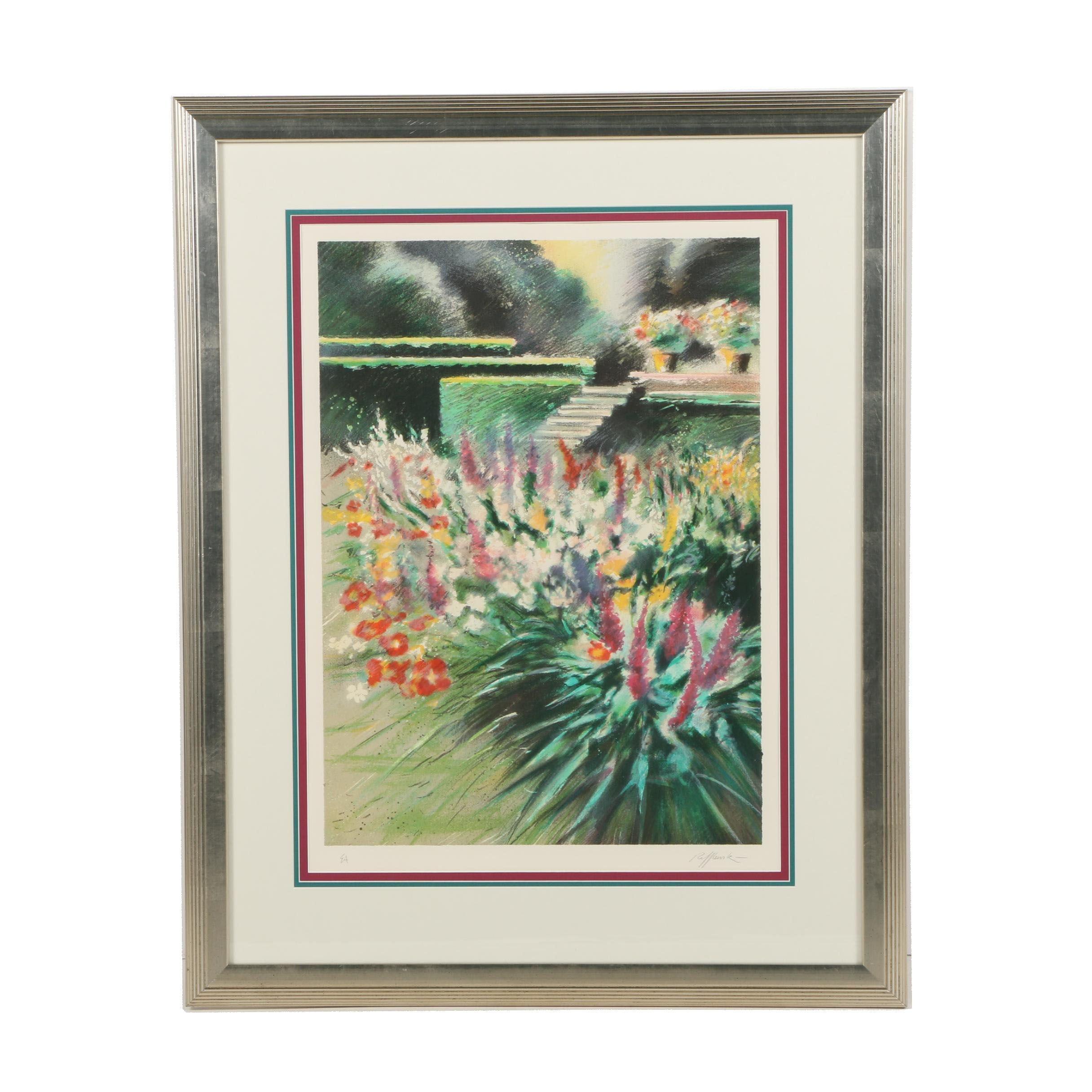 "Rolf Rafflewski Artist Proof Lithograph ""Giverny, Parterre de Fleurs"""