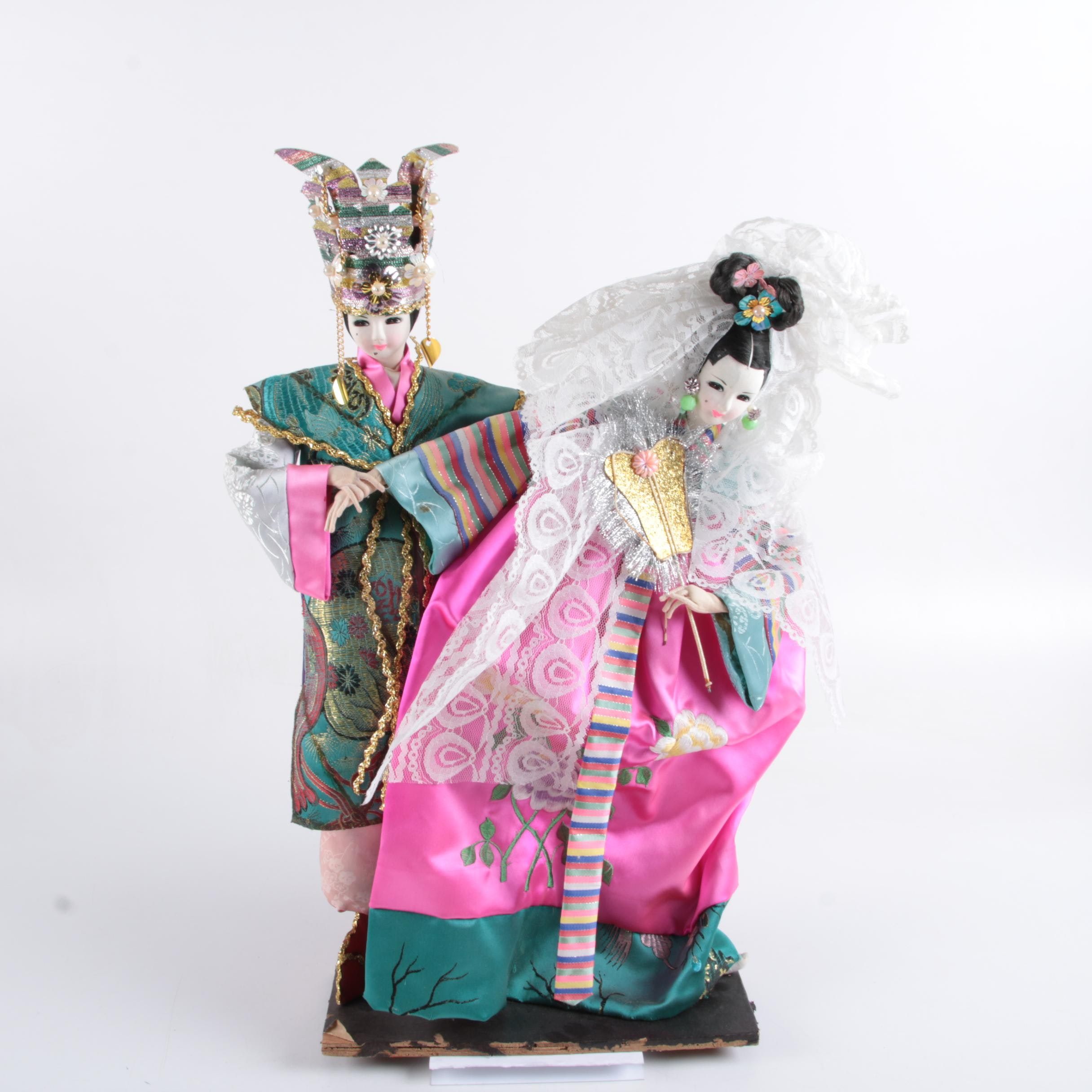 Traditional Korean Bride and Groom Stocking Face Dolls in Silk Hanbok Attire