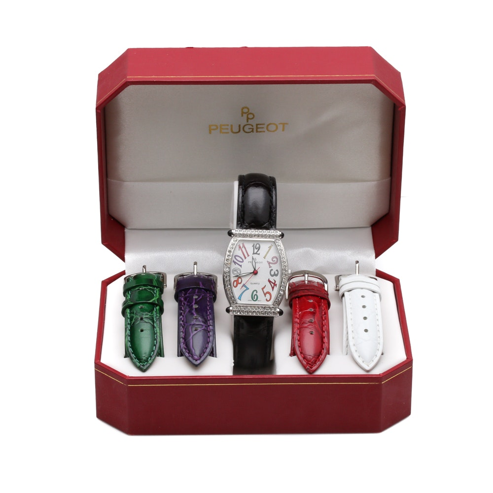 Peugeot Wristwatch Set with Interchangeable Leather Bands