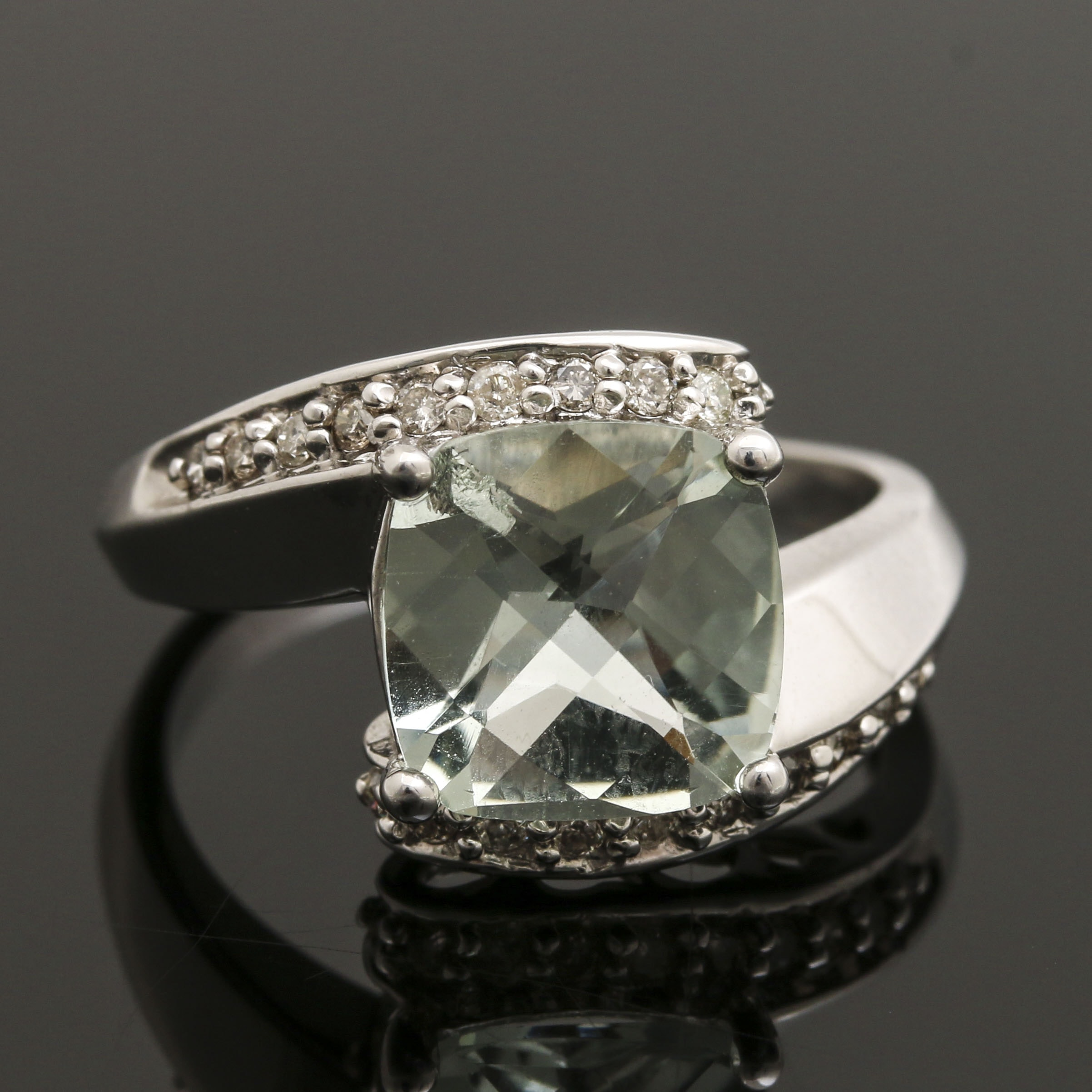 10K White Gold Praseolite and Diamond Bypass Ring