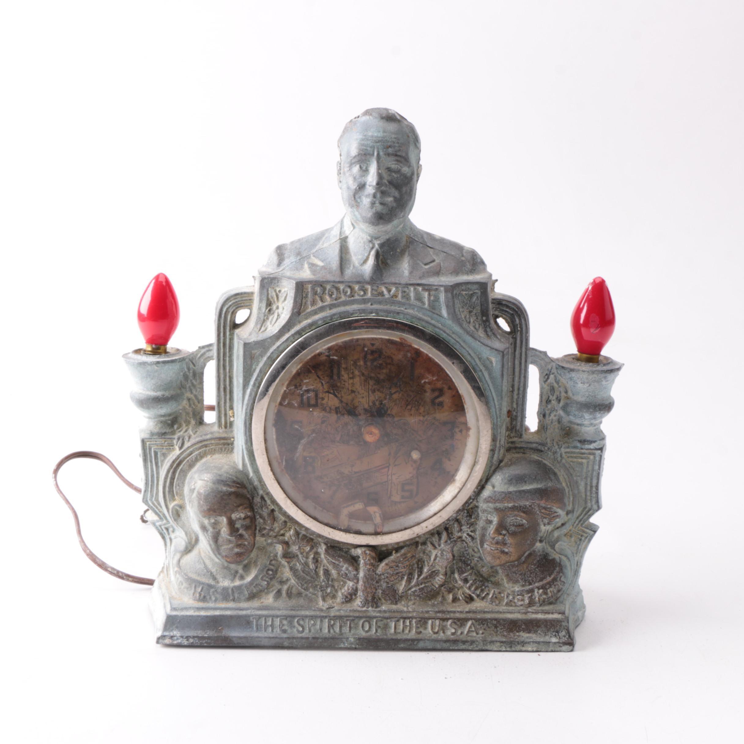 1934 Franklin D. Roosevelt Mantel Clock