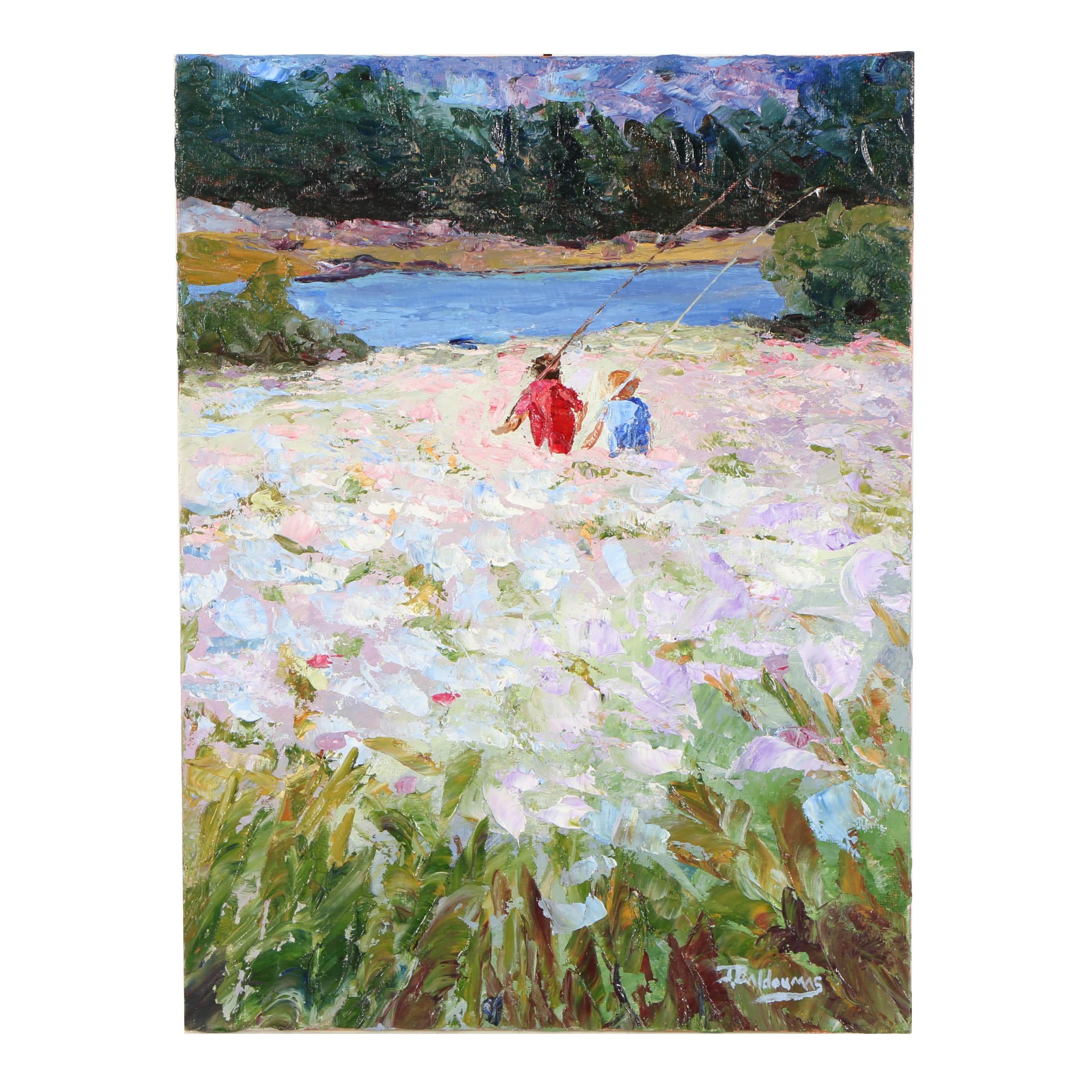 "James Baldoumas Oil Painting ""Going Fishing"""