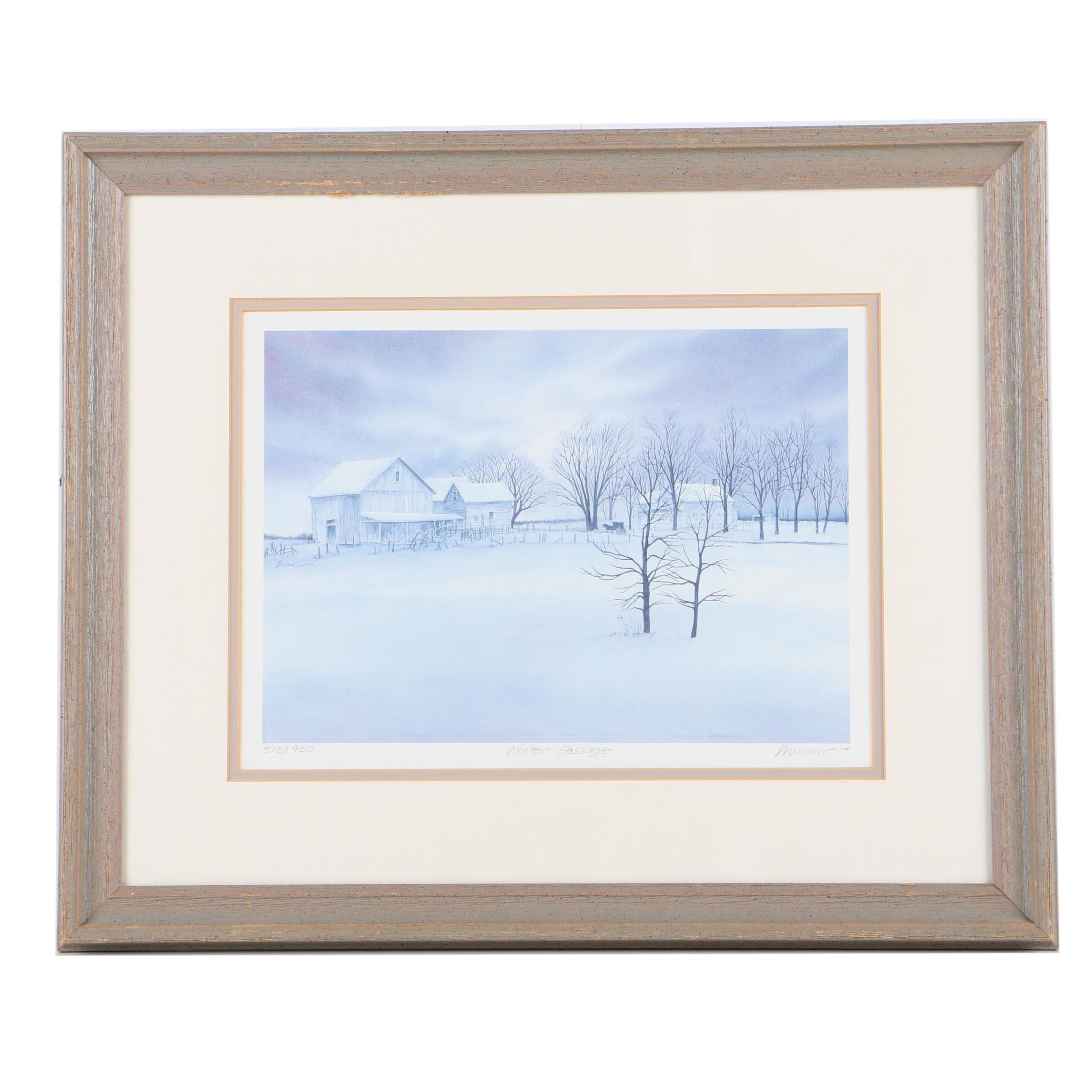Limited Edition Offset Lithograph On Paper Quot Winter Passage