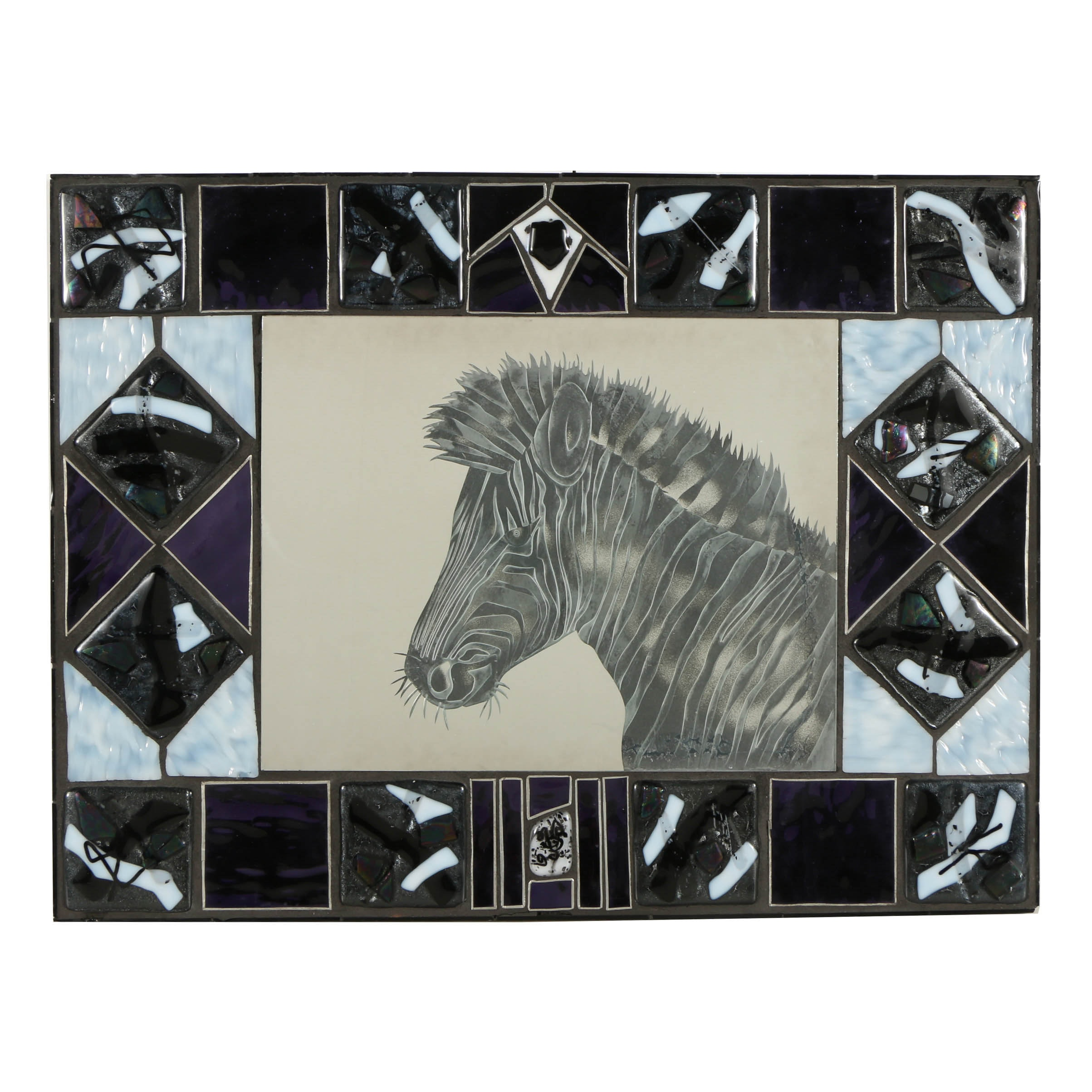 Art Glass Mirror with Etched Zebra
