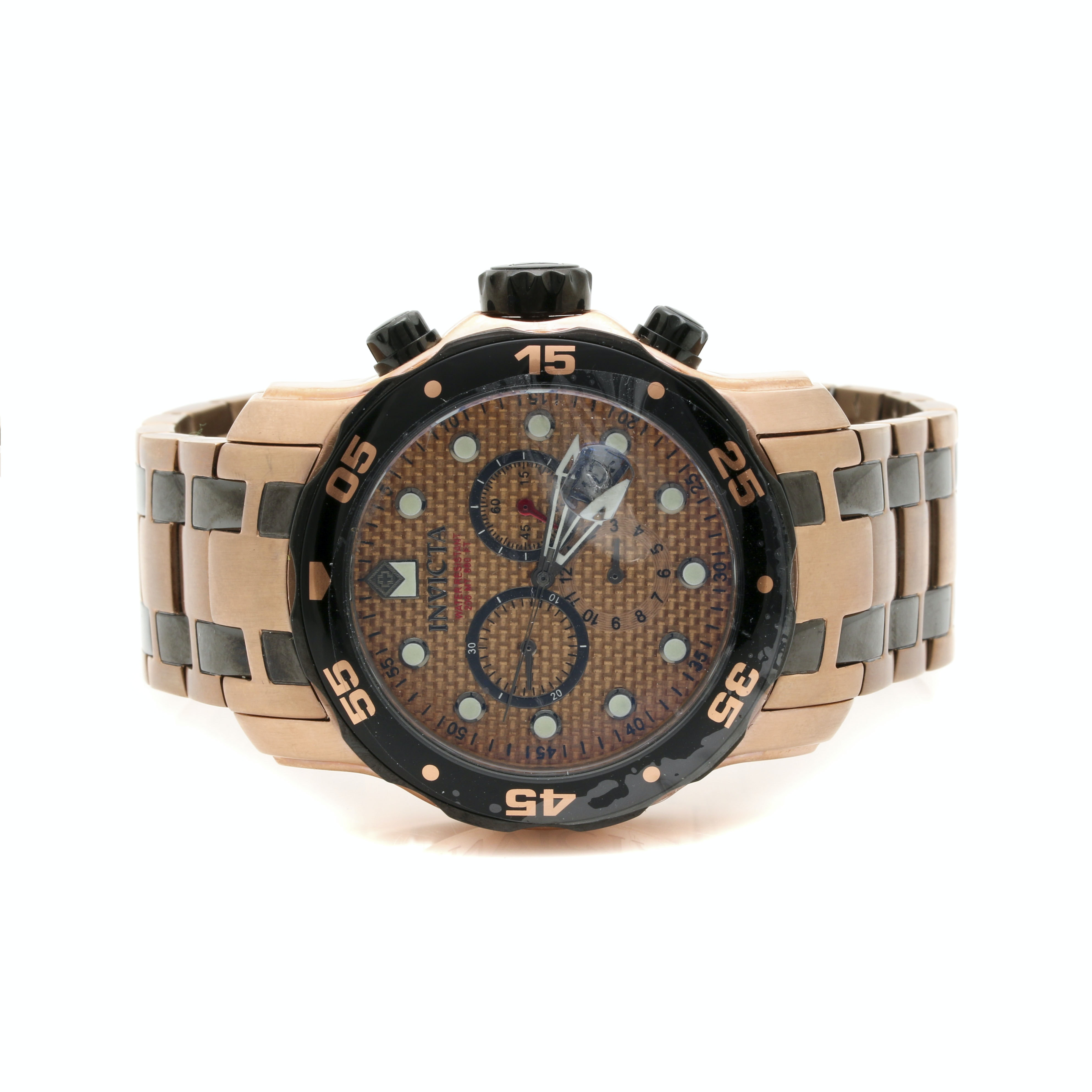 Invicta Pro Diver Copper and Black Tone Stainless Steel Wristwatch