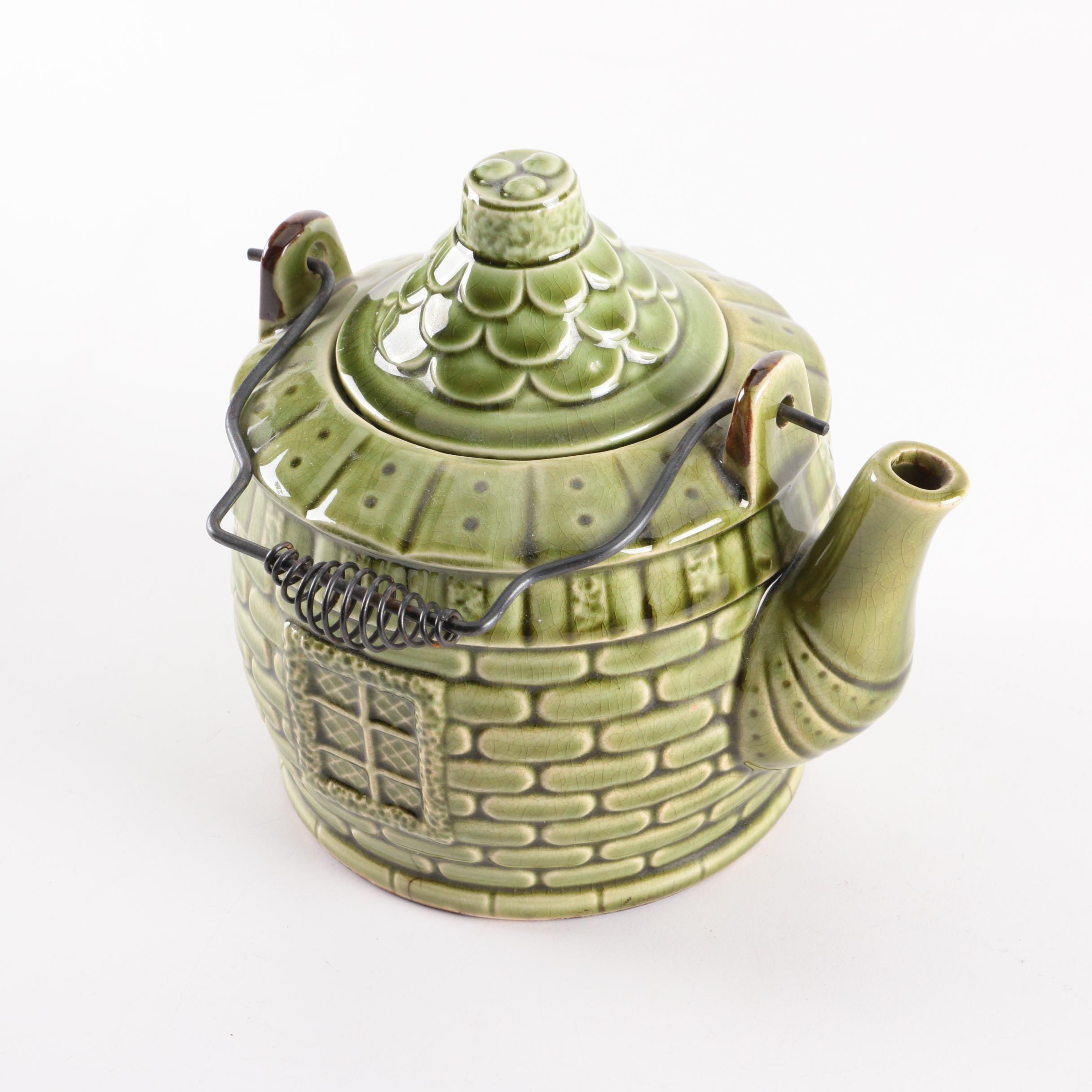 Cottage Motif Stoneware Teapot