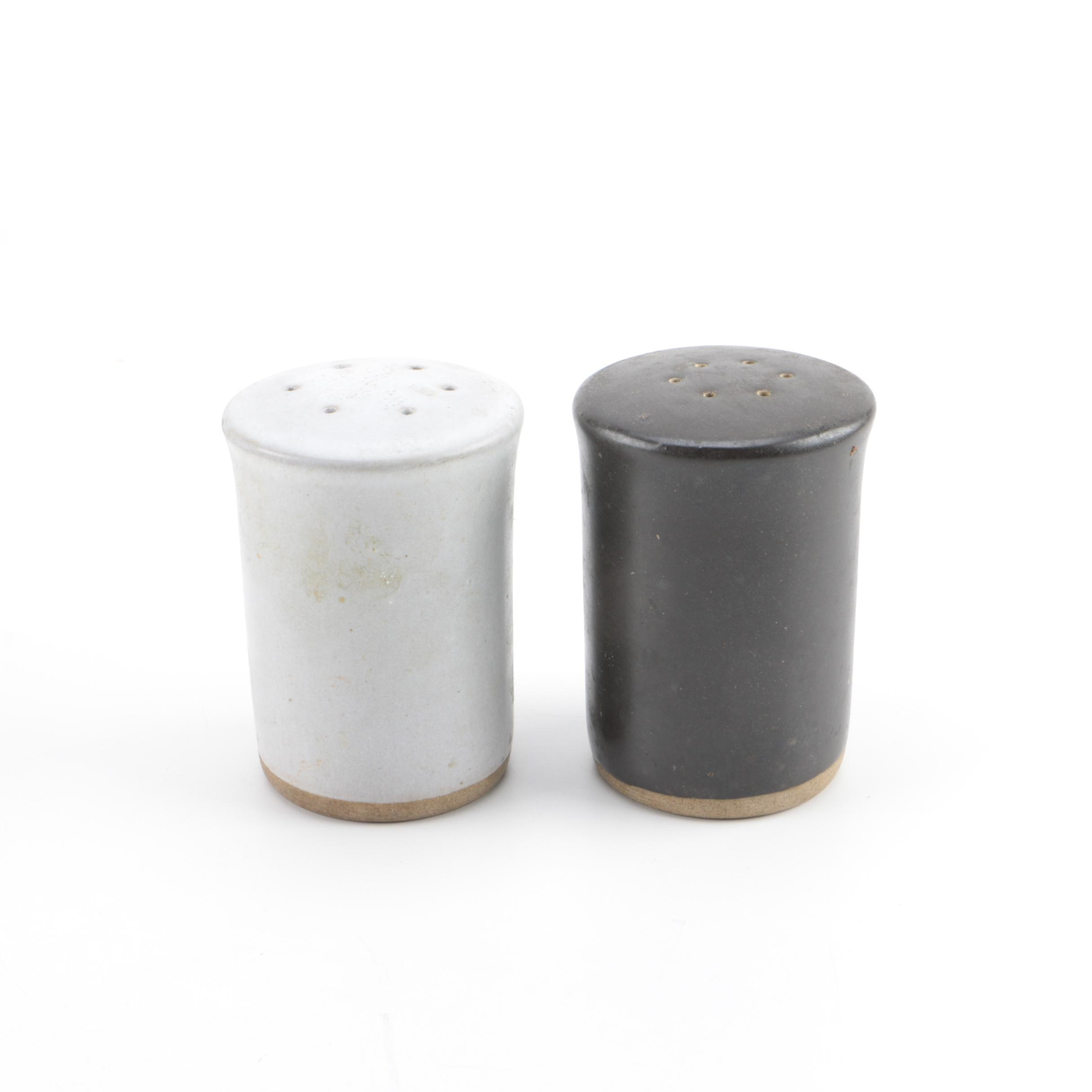 Signed Stoneware Salt and Pepper Shakers
