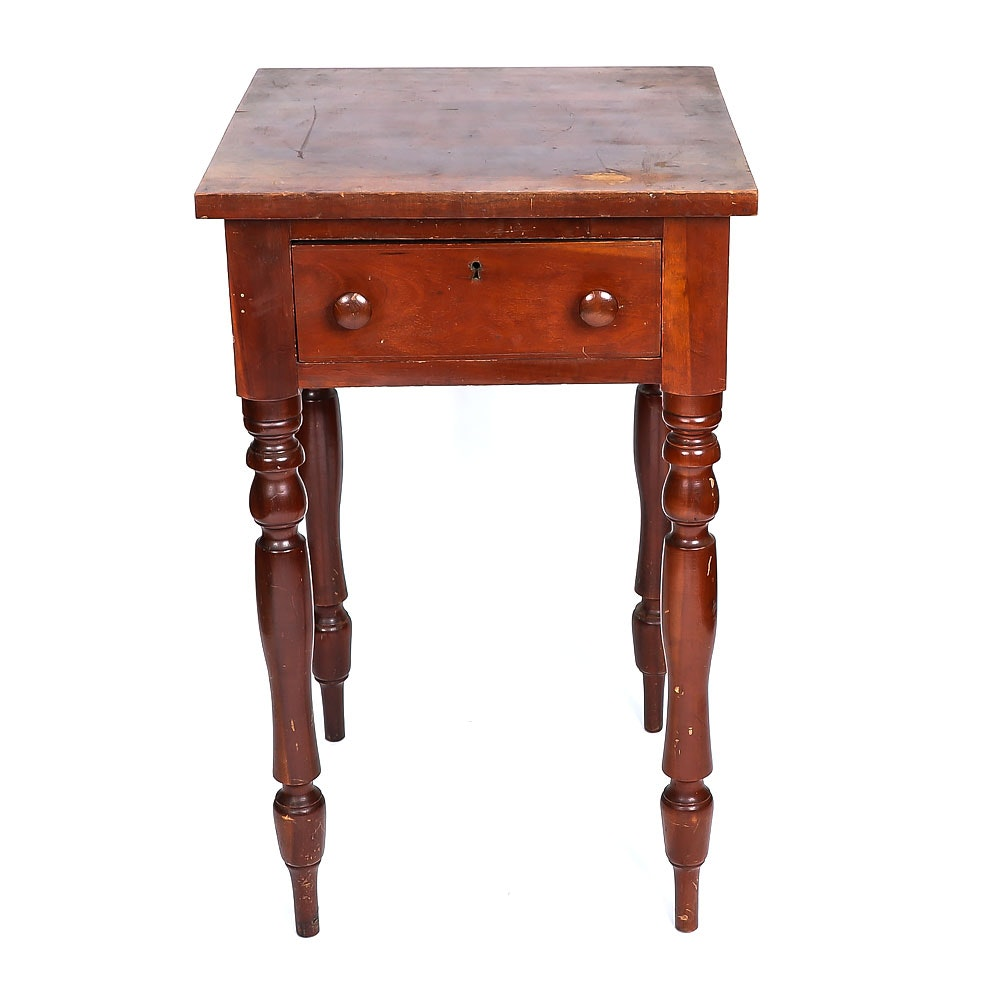 Vintage Sheraton Style Cherry Accent Table With Drawer ...