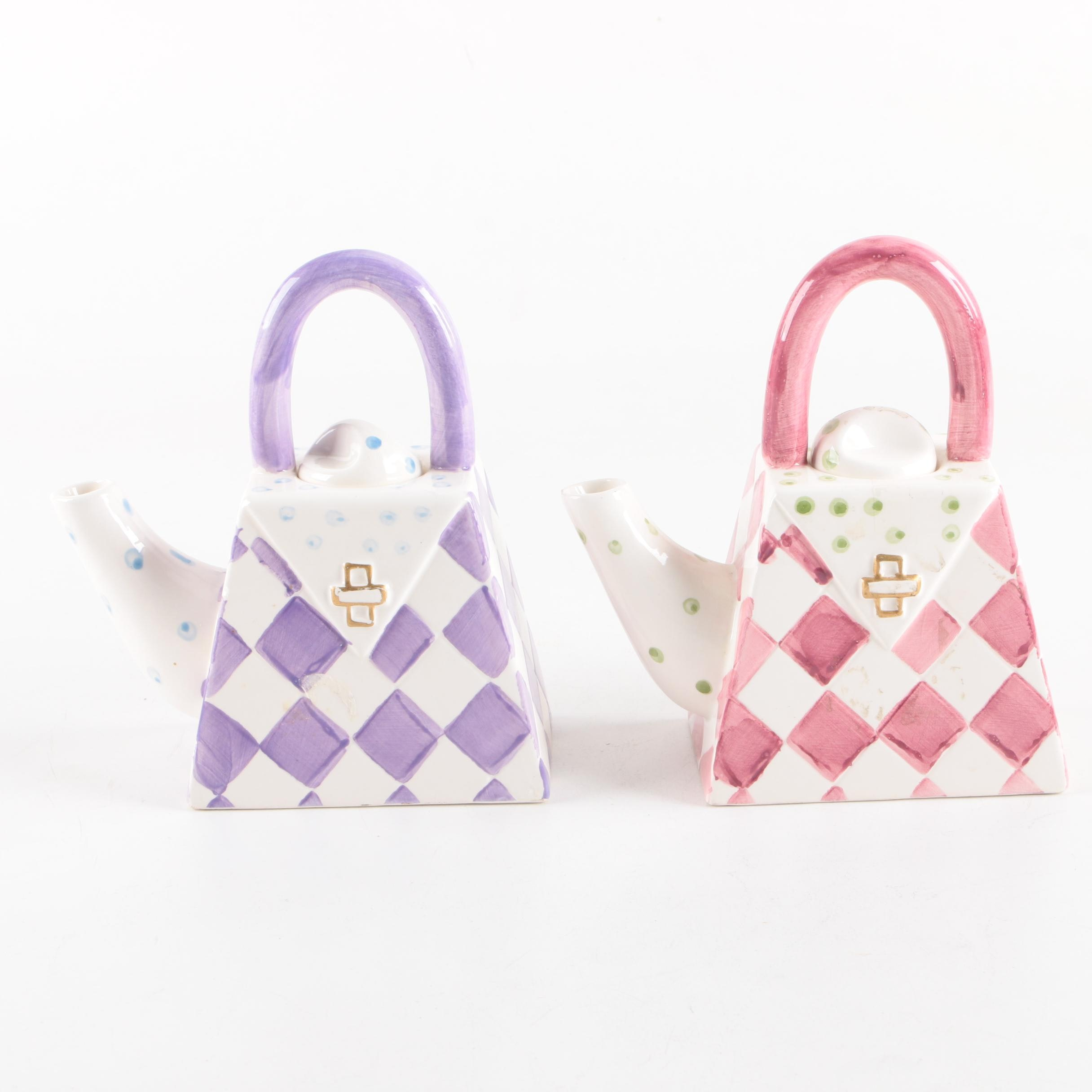 Purse Themed Ceramic Teapots
