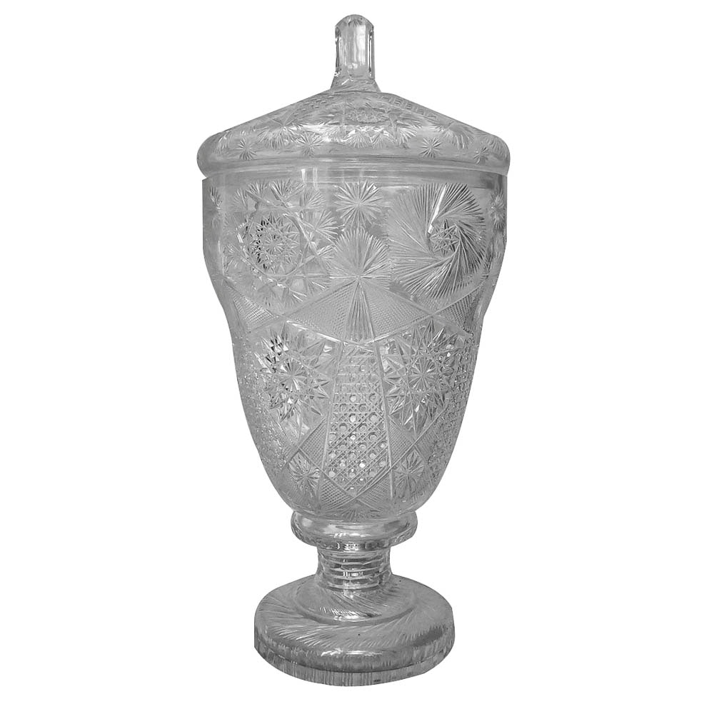 Cut Glass Covered Vase
