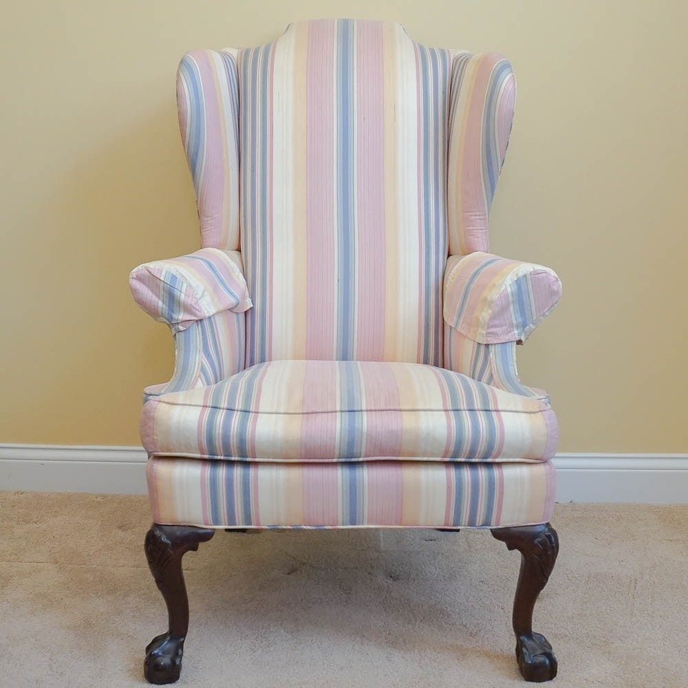Vintage Chippendale Style Wingback Armchair