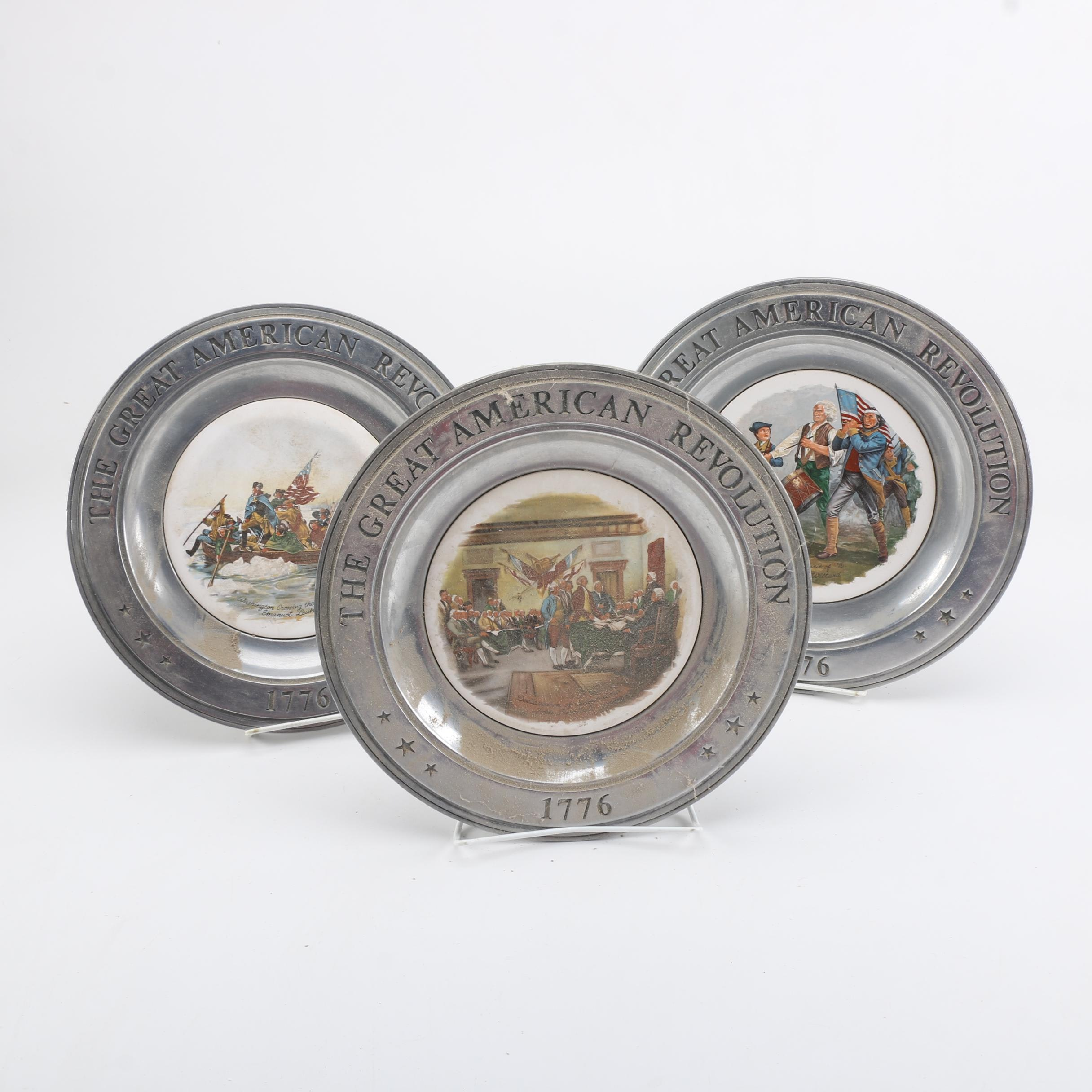 "Pewter ""Great American Revolution"" Decorative Plates"