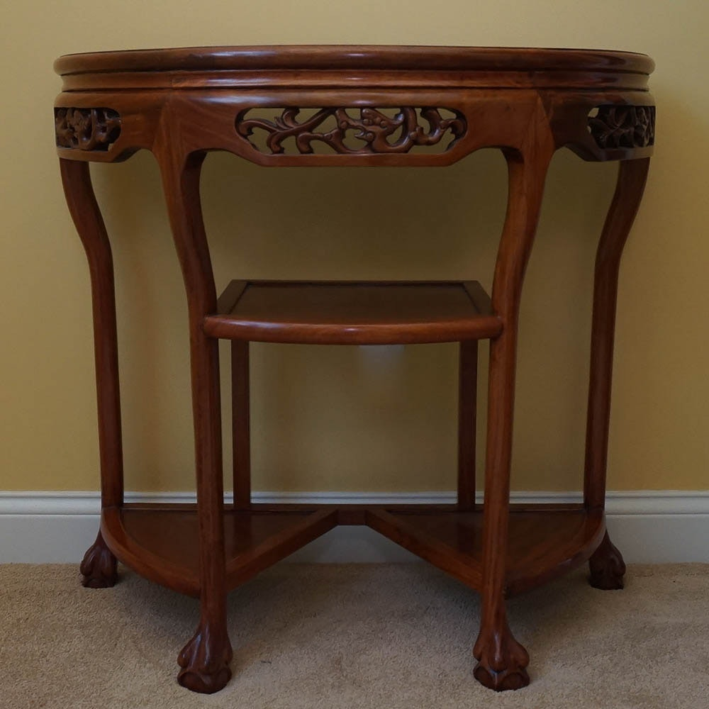 Chinese Marble Top and Walnut Demilune Console Table