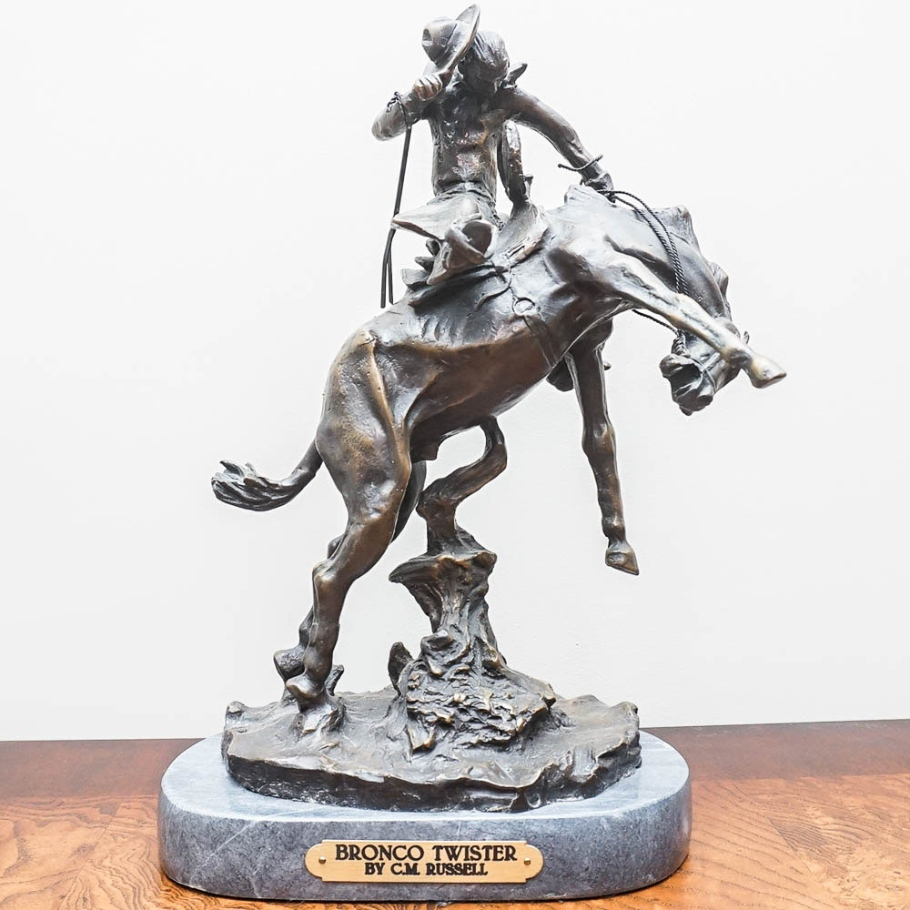 "Bronze Sculpture After C.M. Russell ""Bronco Twister"""