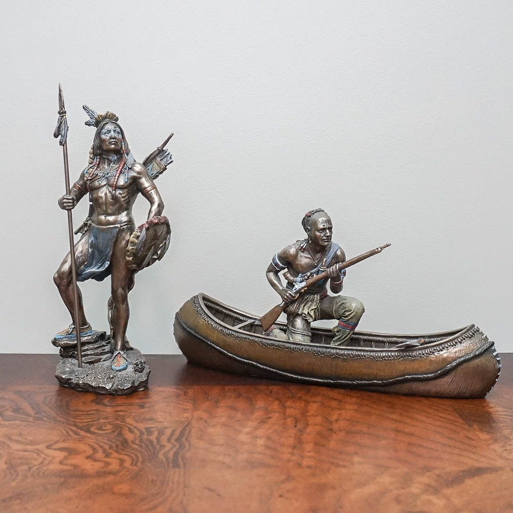 "Veronese ""Sioux Indian"" and ""Mohawk Tribe"" Bronze Figures"
