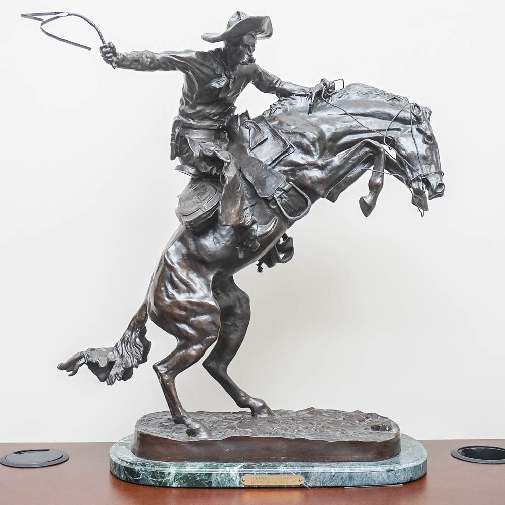 "Bronze Reproduction Sculpture After Frederic Remington ""Bronco Buster"""