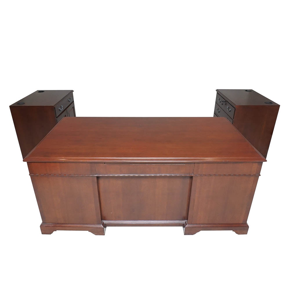 Executive Desk and Cabinets by Shelbyville Desk Co.