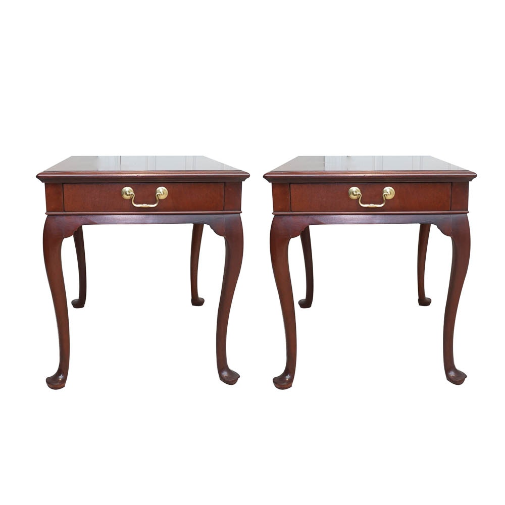 Pair of Queen Anne Style End Tables by Hickory Chair