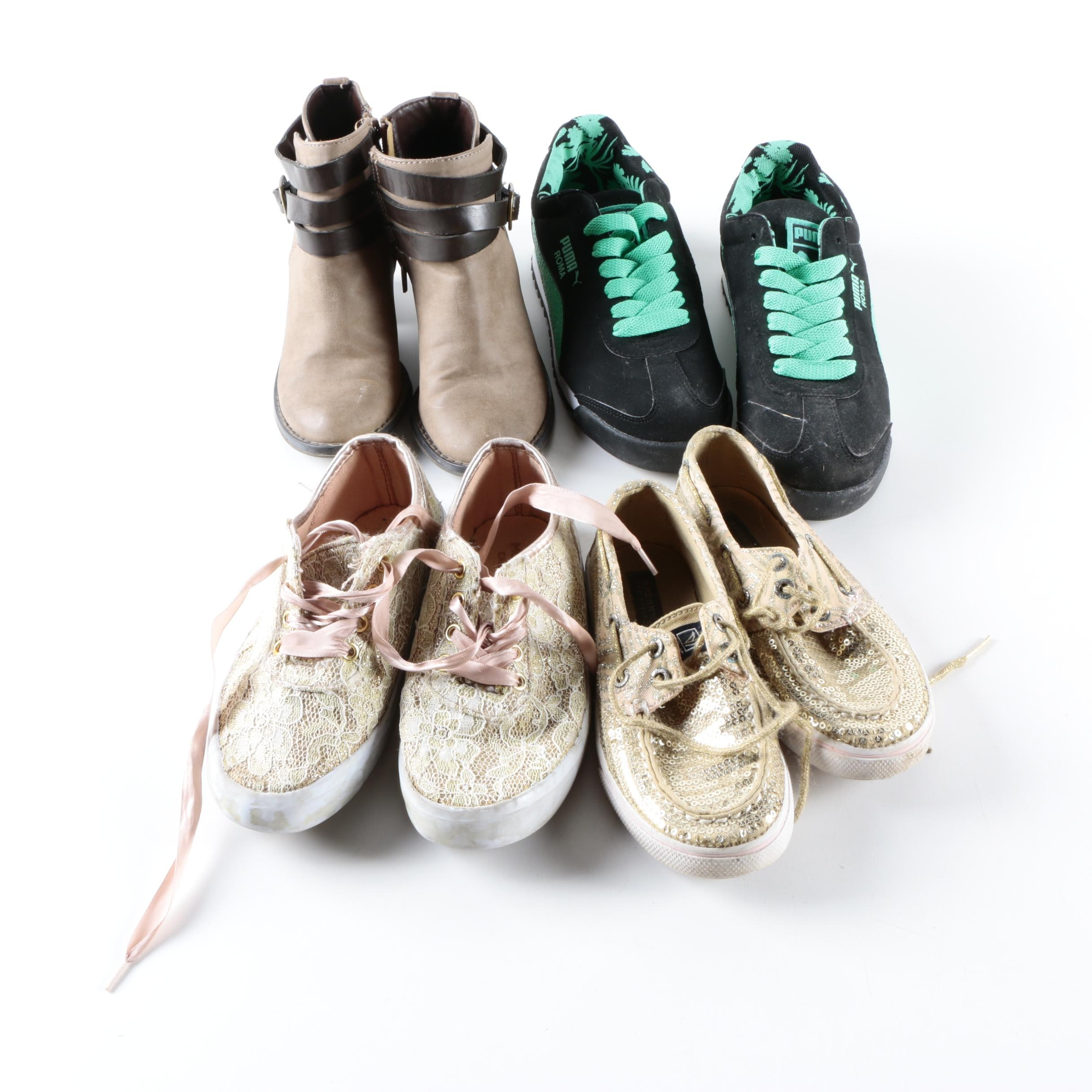 Girl's Footwear Including Puma, Sperry and Boot Heels
